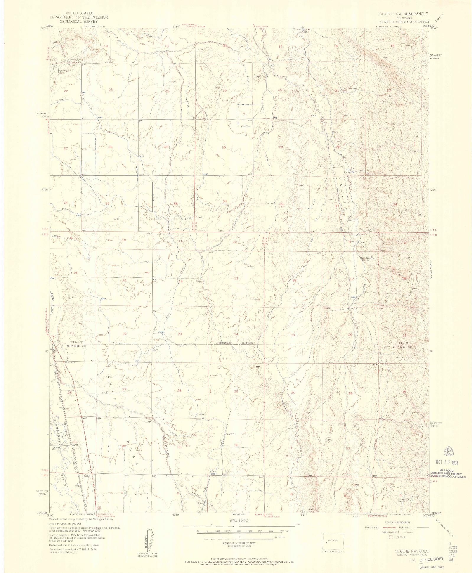 USGS 1:24000-SCALE QUADRANGLE FOR OLATHE NW, CO 1955