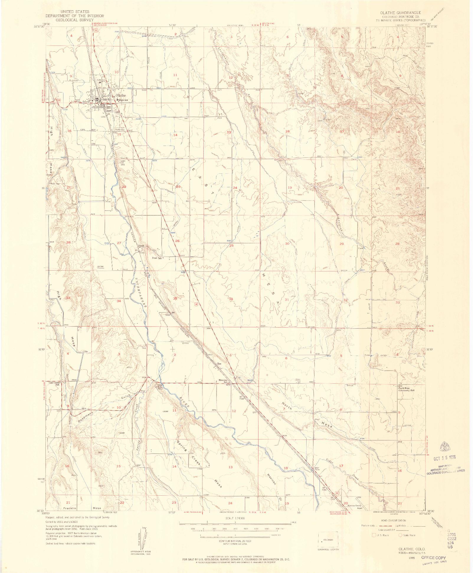 USGS 1:24000-SCALE QUADRANGLE FOR OLATHE, CO 1955