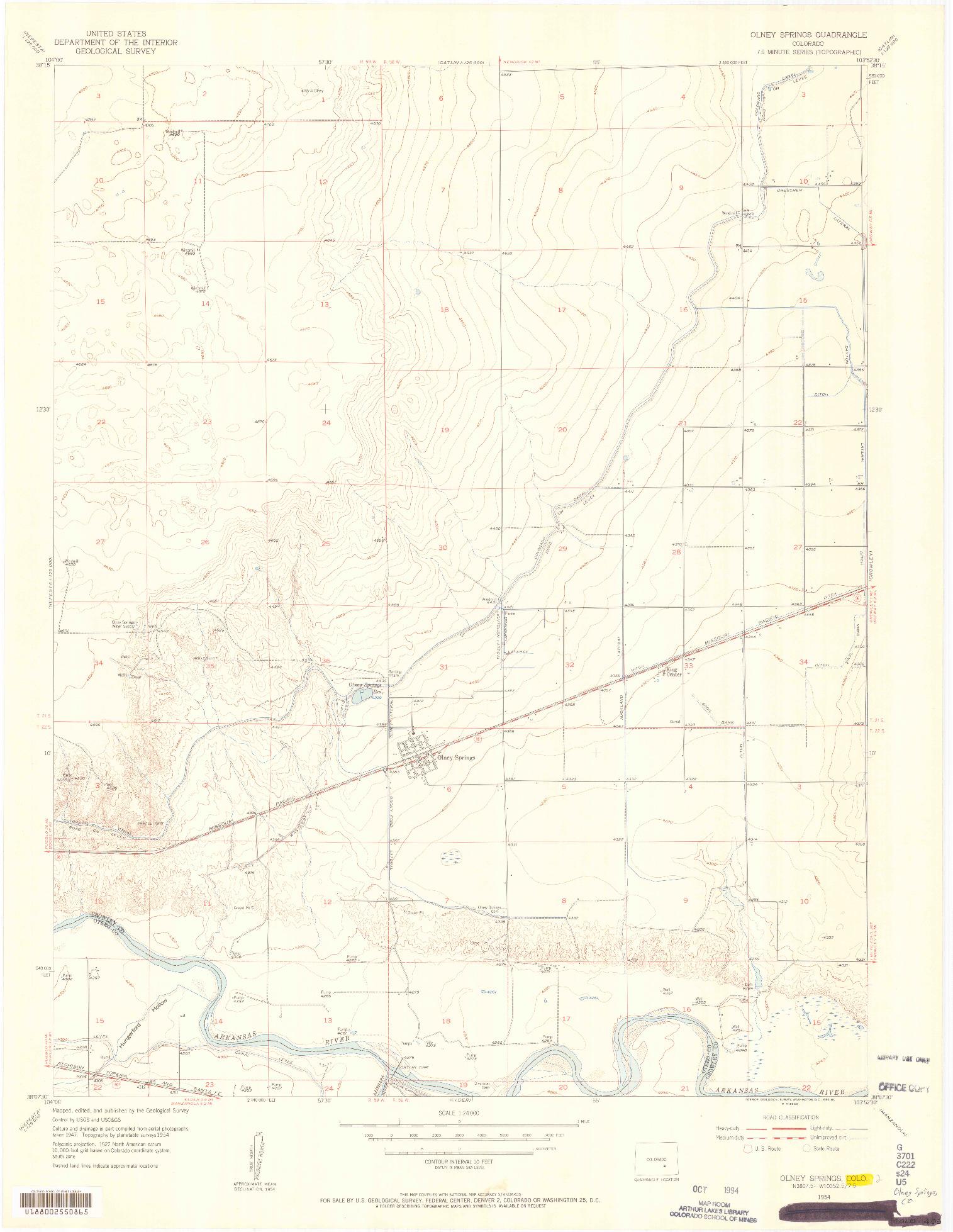 USGS 1:24000-SCALE QUADRANGLE FOR OLNEY SPRINGS, CO 1954