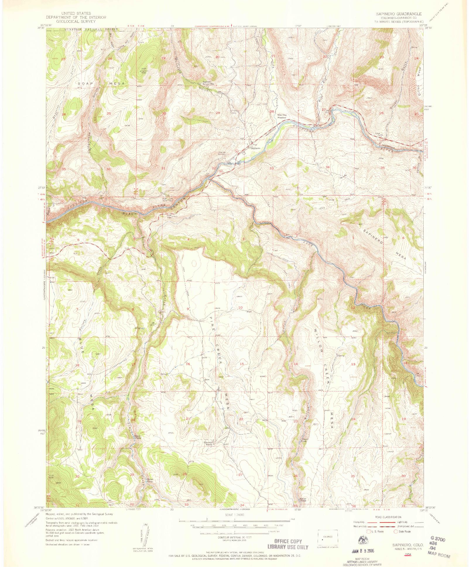USGS 1:24000-SCALE QUADRANGLE FOR SAPINERO, CO 1954