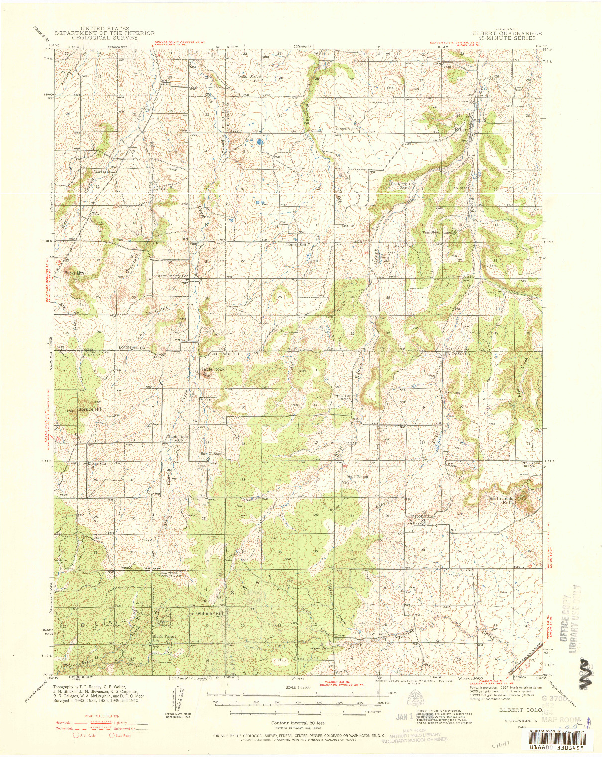 USGS 1:62500-SCALE QUADRANGLE FOR ELBERT, CO 1940