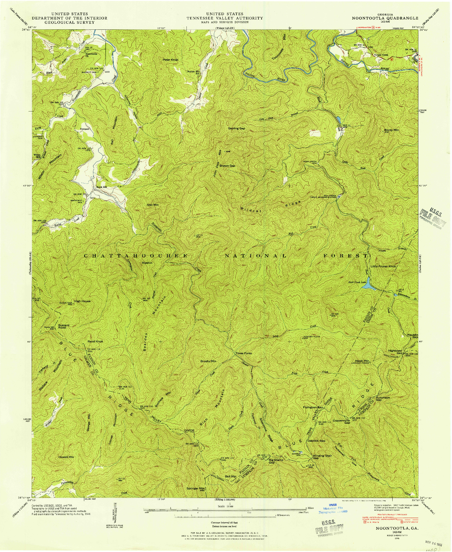 USGS 1:24000-SCALE QUADRANGLE FOR NOONTOOTLA, GA 1946