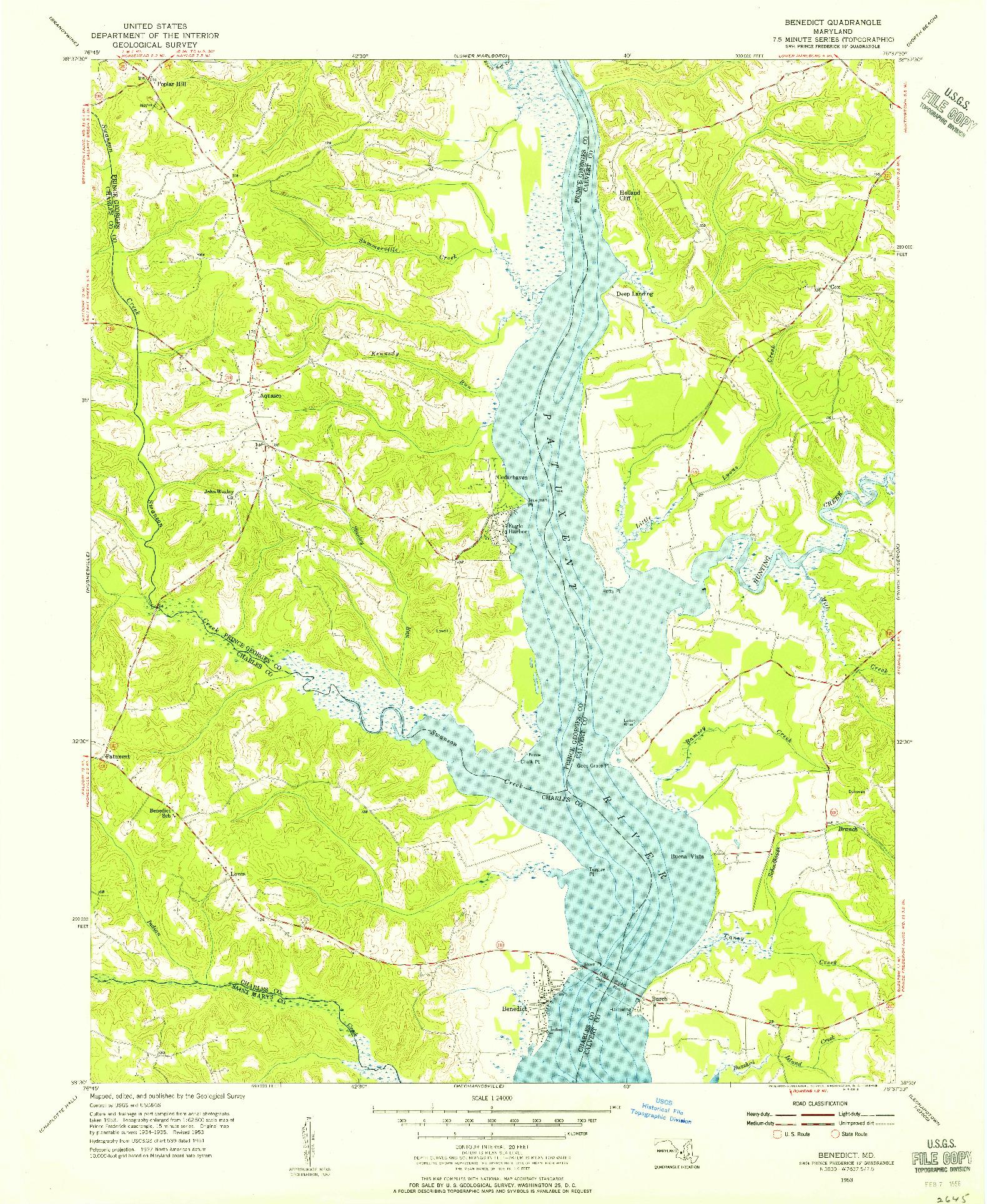 USGS 1:24000-SCALE QUADRANGLE FOR BENEDICT, MD 1953