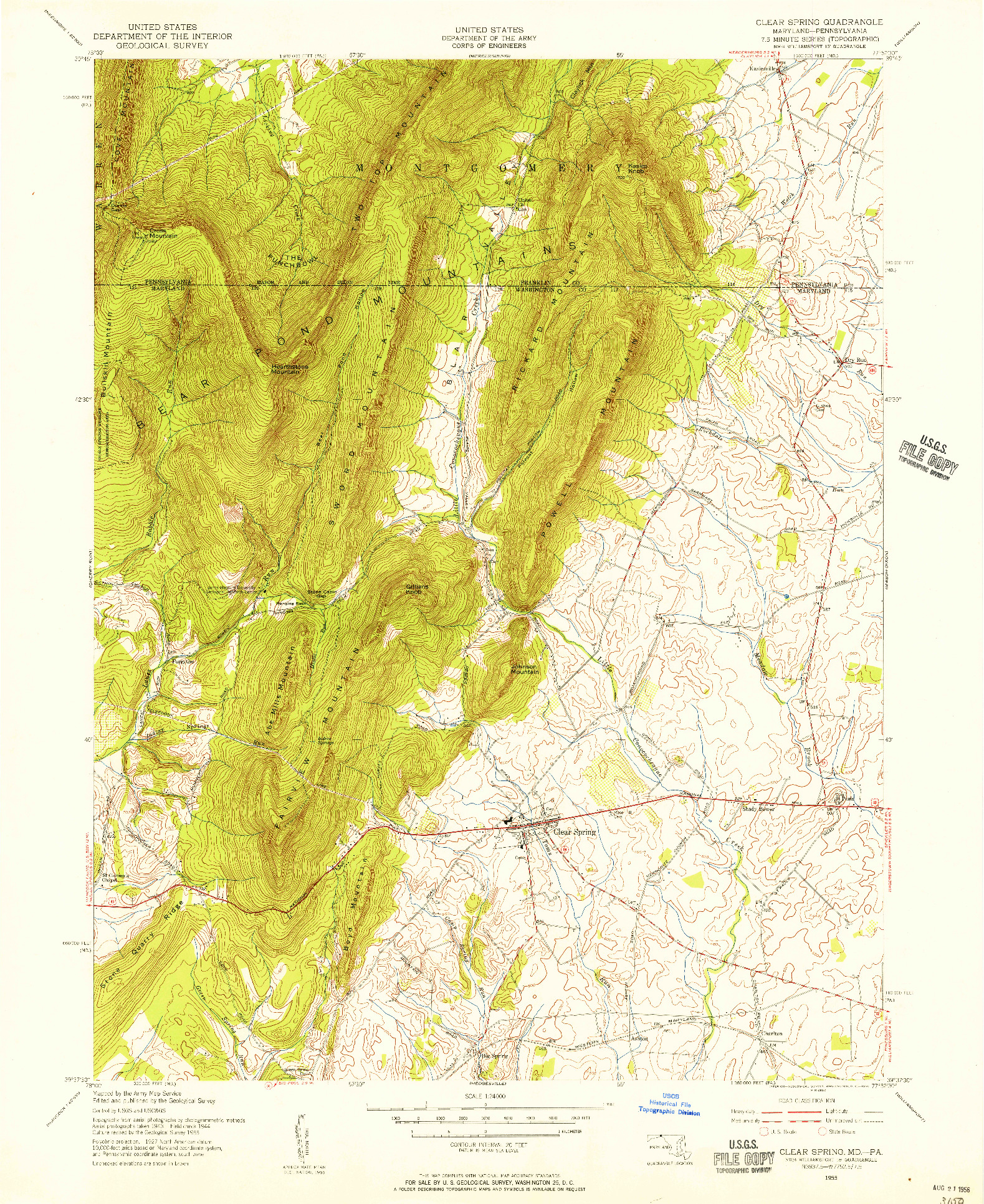 USGS 1:24000-SCALE QUADRANGLE FOR CLEAR SPRING, MD 1955