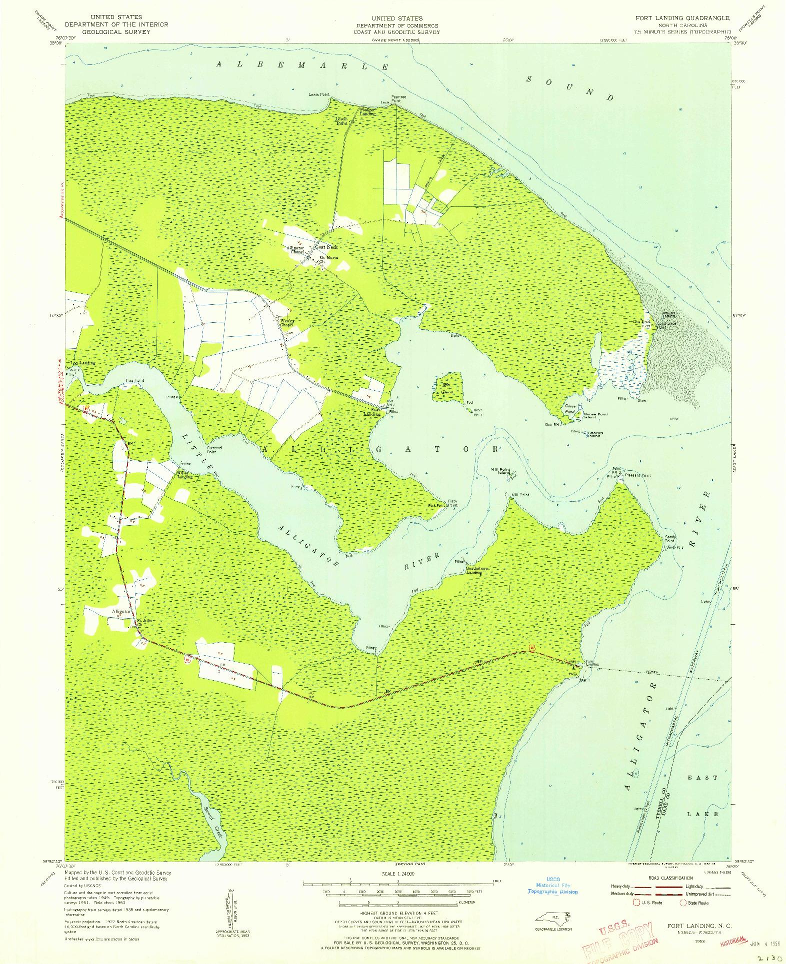 USGS 1:24000-SCALE QUADRANGLE FOR FORT LANDING, NC 1953