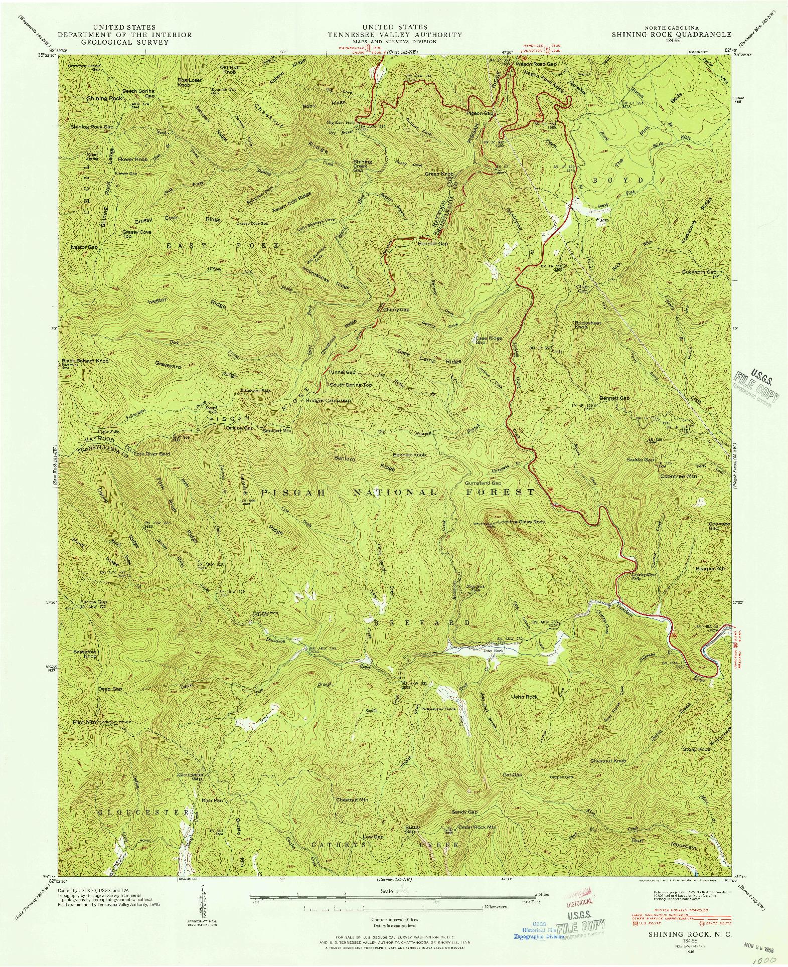 USGS 1:24000-SCALE QUADRANGLE FOR SHINING ROCK, NC 1946