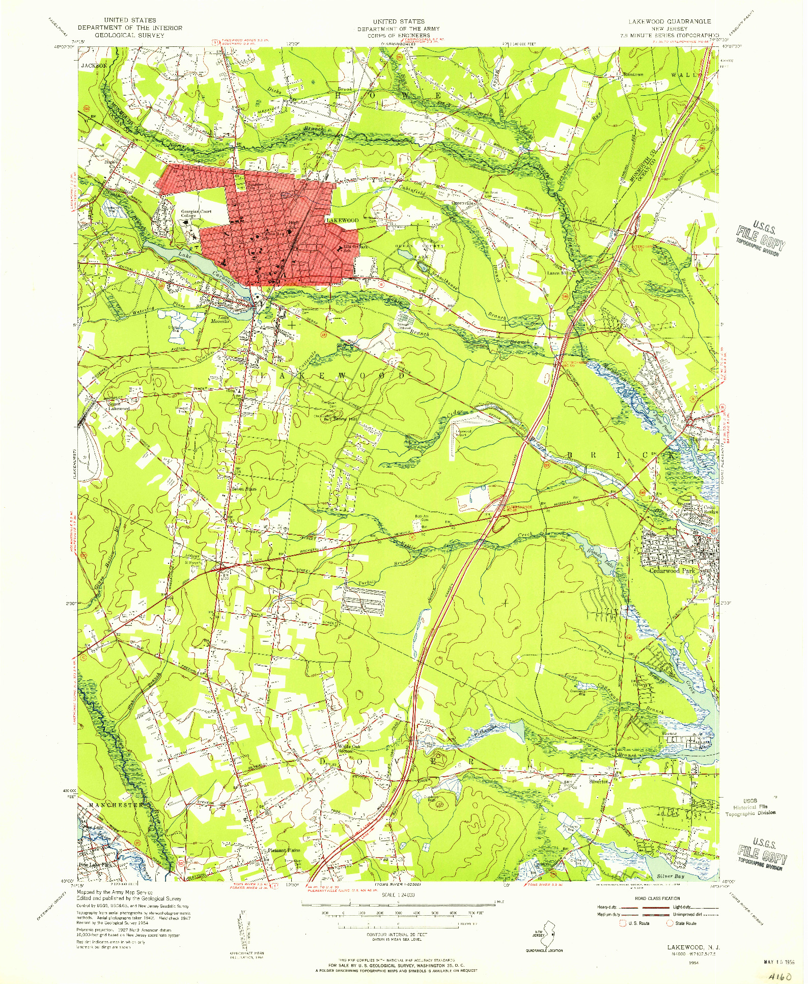 USGS 1:24000-SCALE QUADRANGLE FOR LAKEWOOD, NJ 1954
