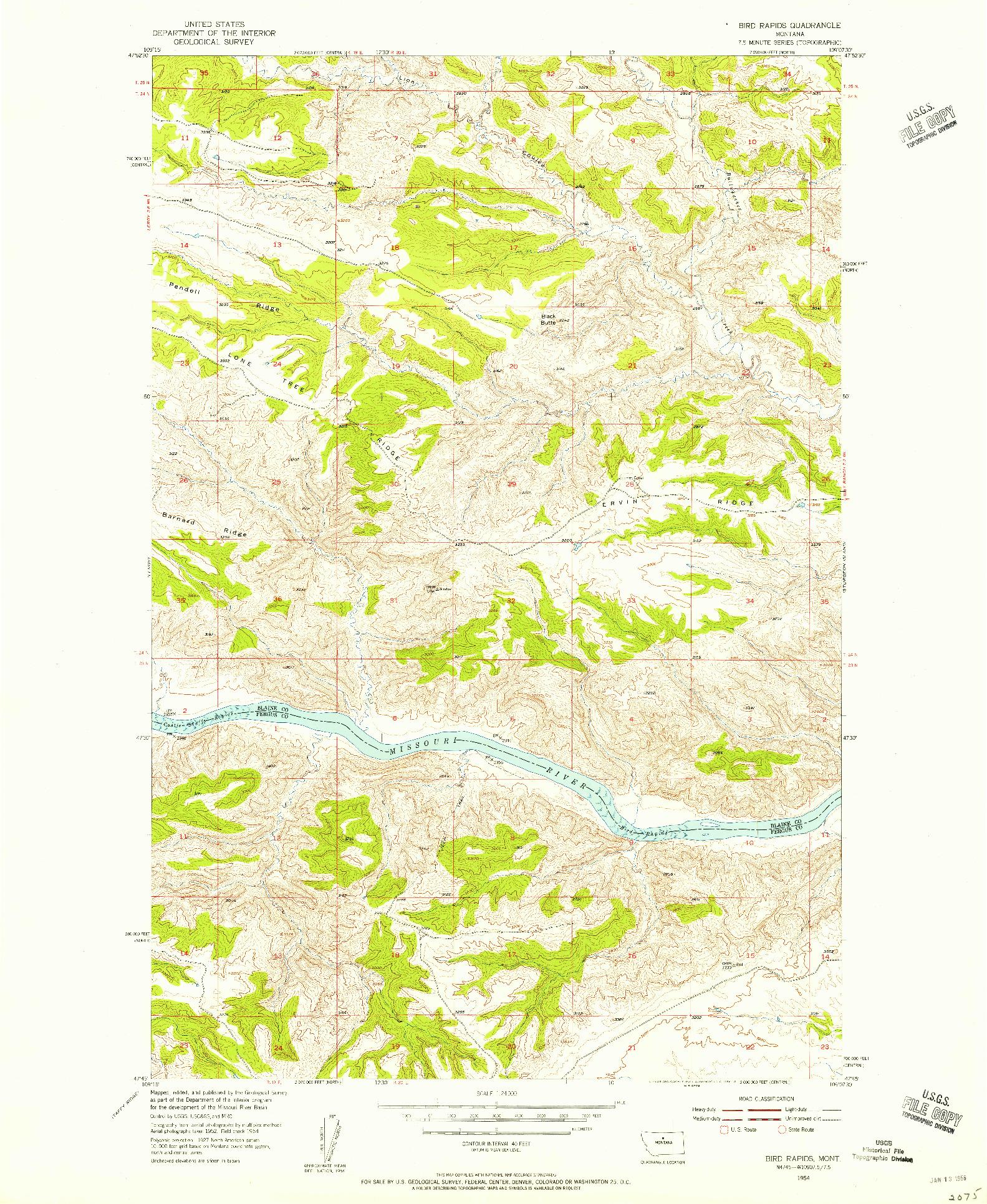 USGS 1:24000-SCALE QUADRANGLE FOR BIRD RAPIDS, MT 1954