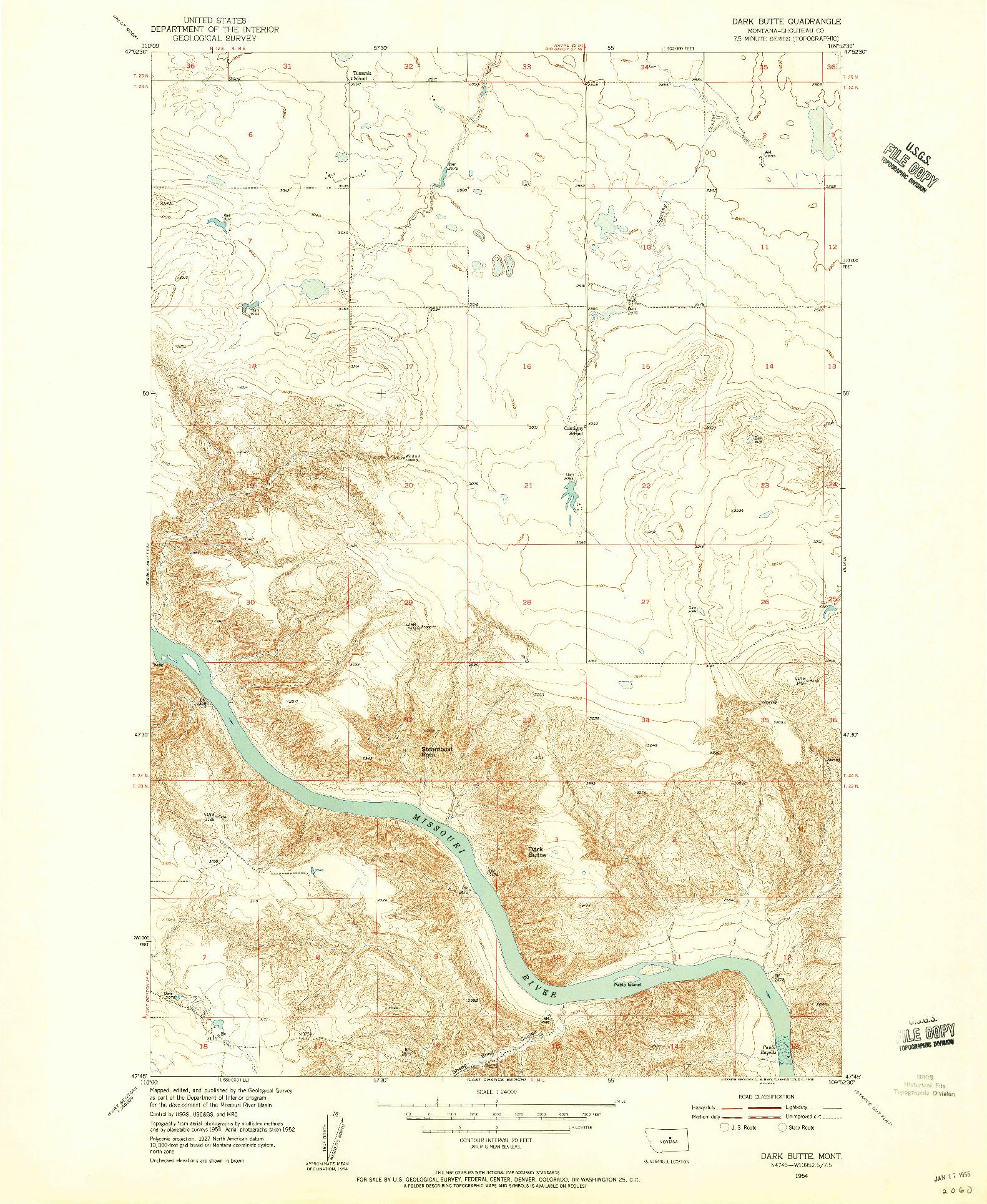USGS 1:24000-SCALE QUADRANGLE FOR DARK BUTTE, MT 1954