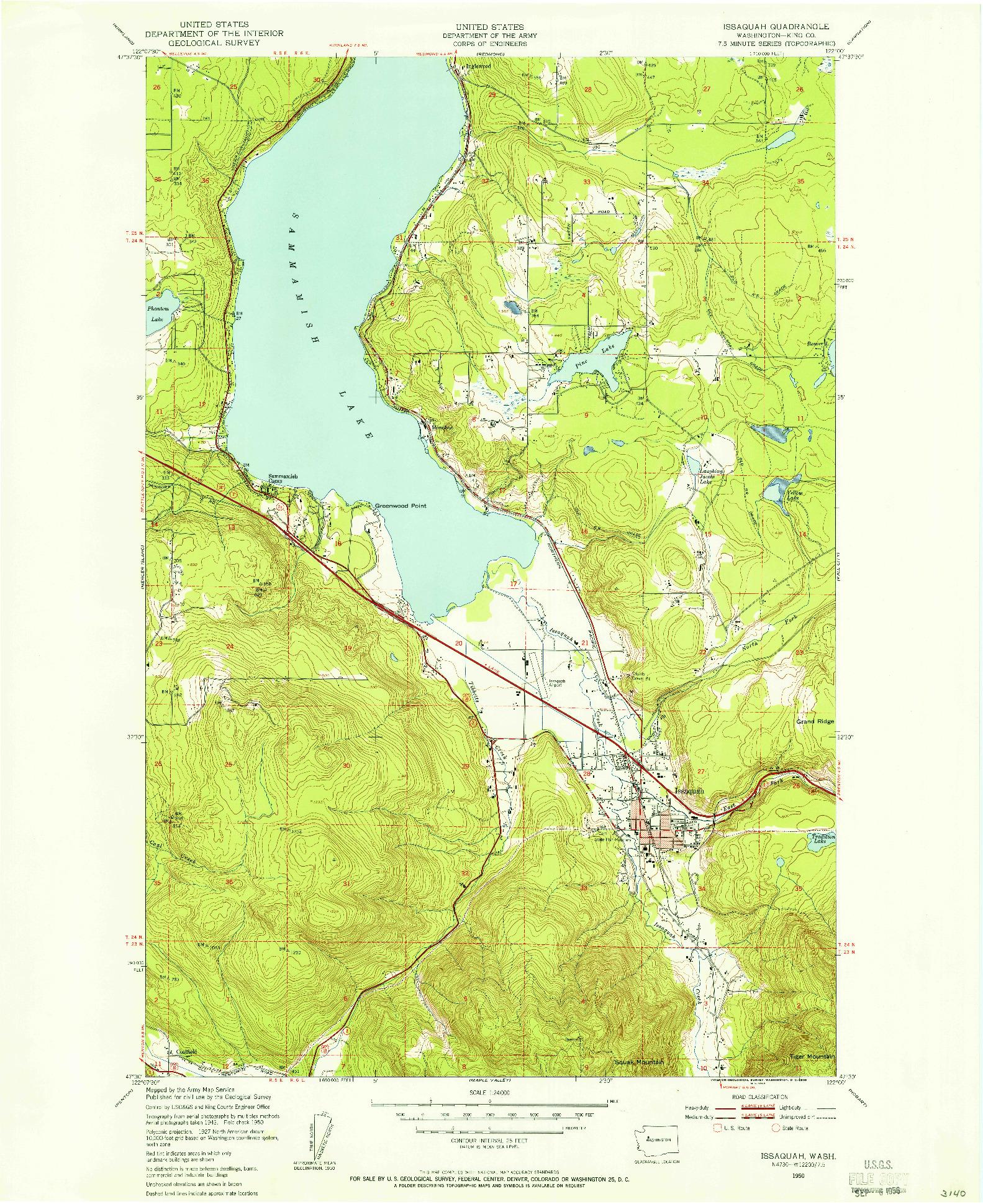 USGS 1:24000-SCALE QUADRANGLE FOR ISSAQUAH, WA 1950