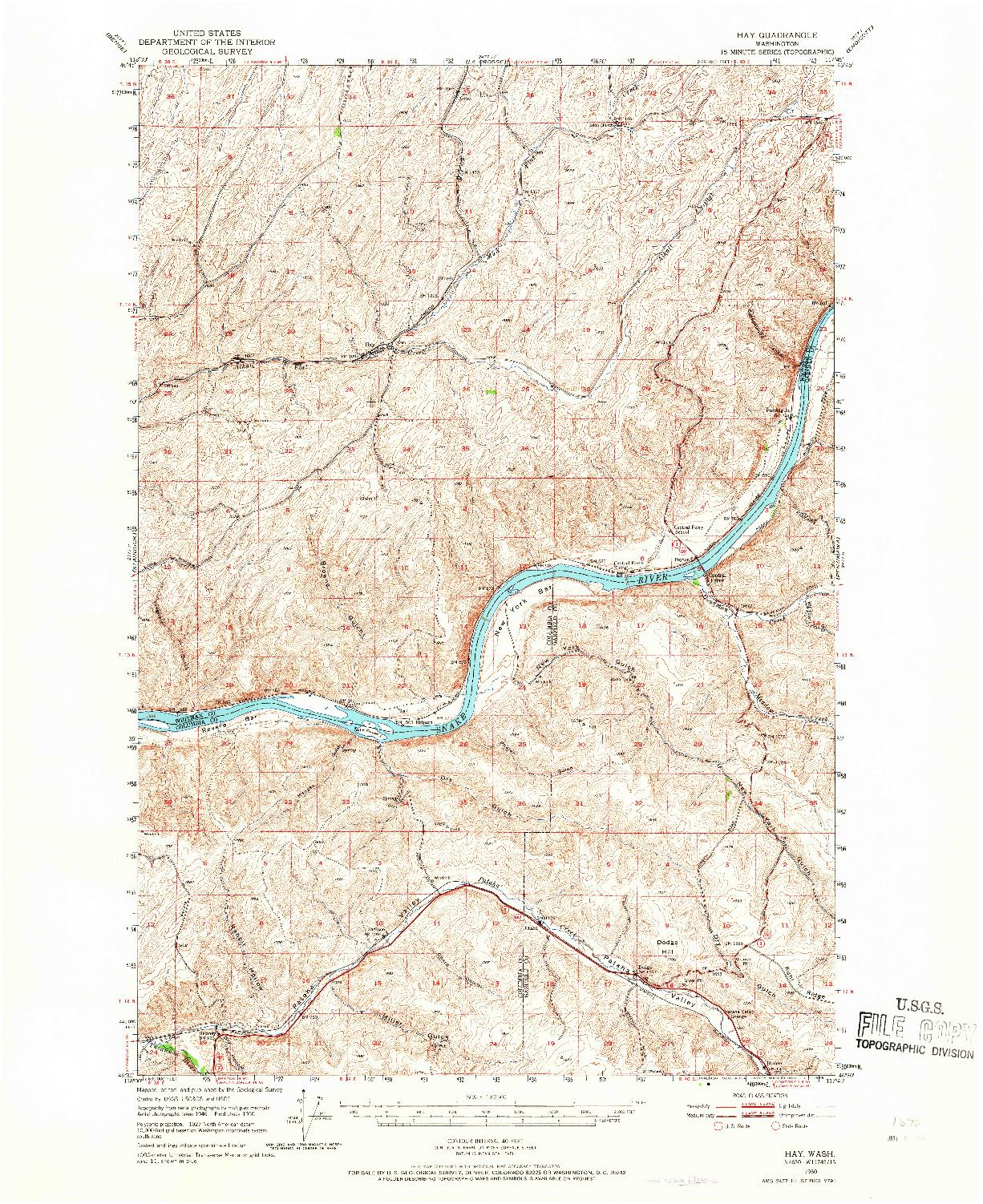 USGS 1:62500-SCALE QUADRANGLE FOR HAY, WA 1950