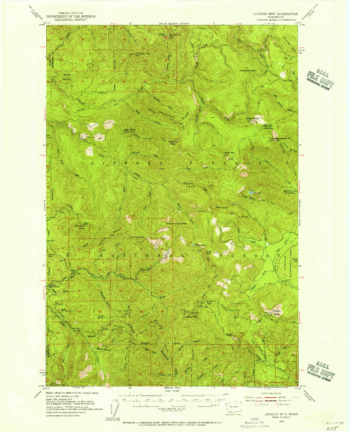 USGS 1:62500-SCALE QUADRANGLE FOR LOOKOUT MTN, WA 1953