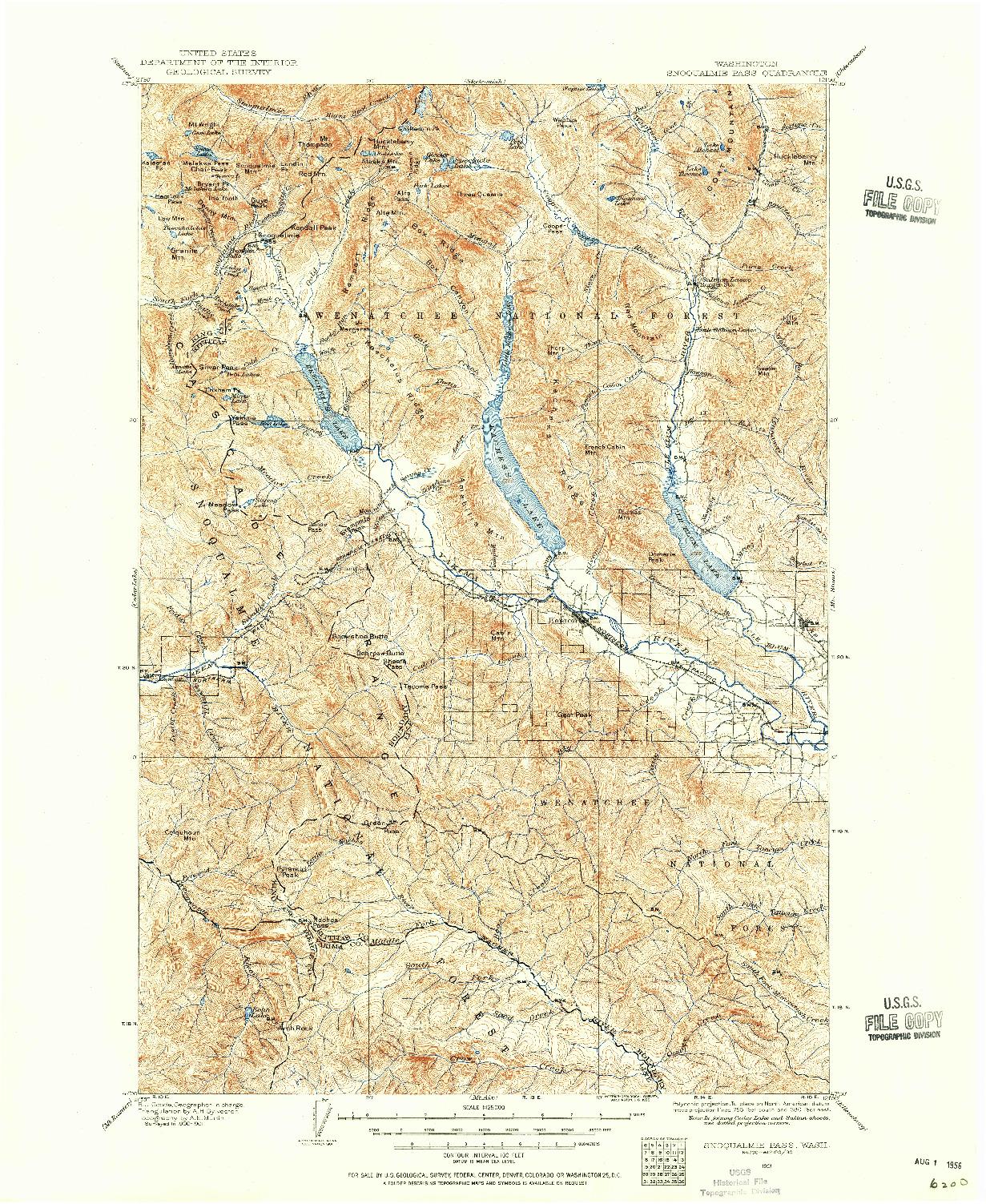 USGS 1:125000-SCALE QUADRANGLE FOR SNOQUALMIE PASS, WA 1901