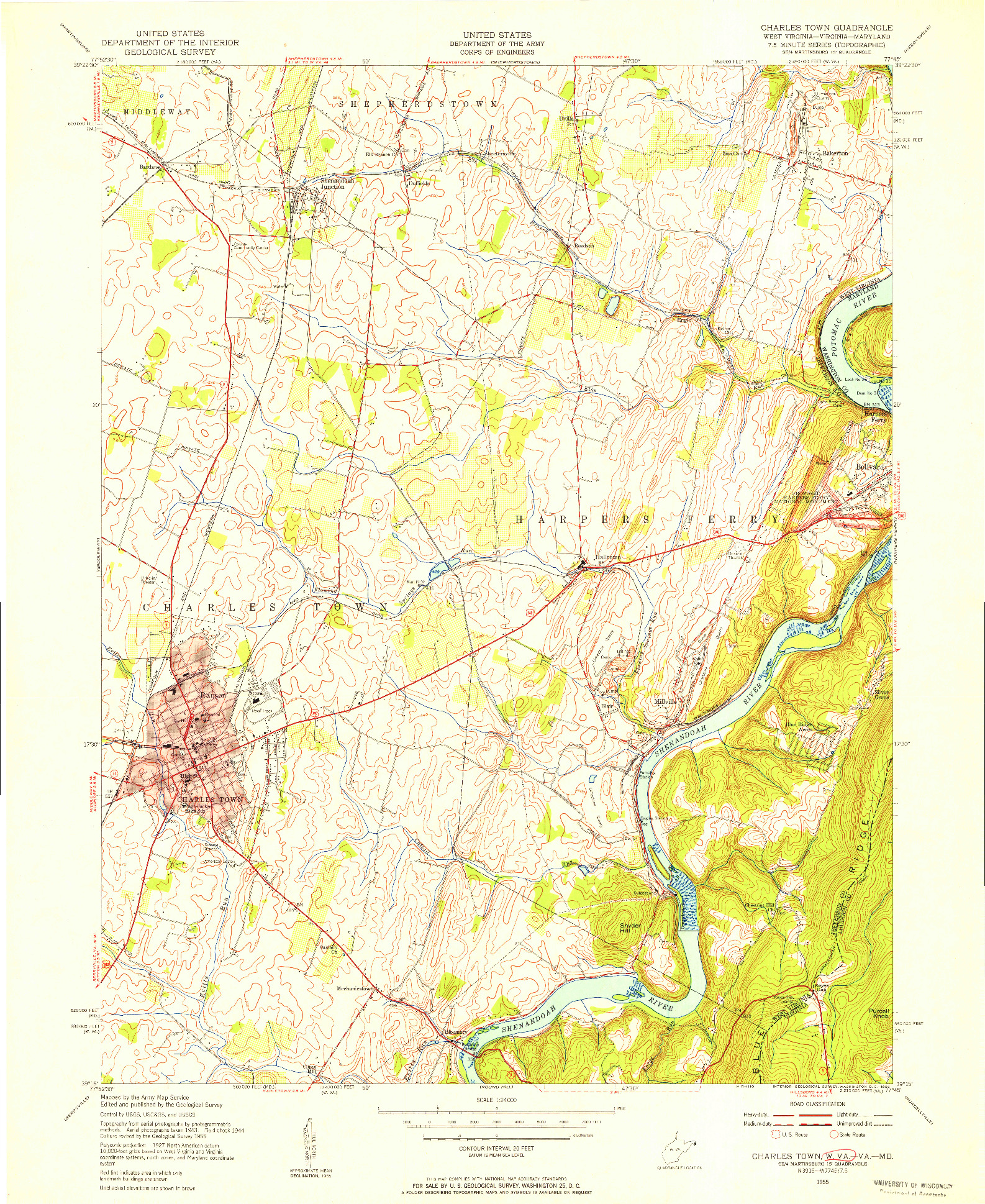 USGS 1:24000-SCALE QUADRANGLE FOR CHARLES TOWN, WV 1955