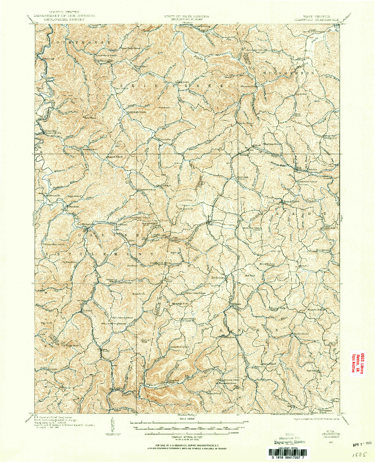 USGS 1:62500-SCALE QUADRANGLE FOR CRAWFORD, WV 1912