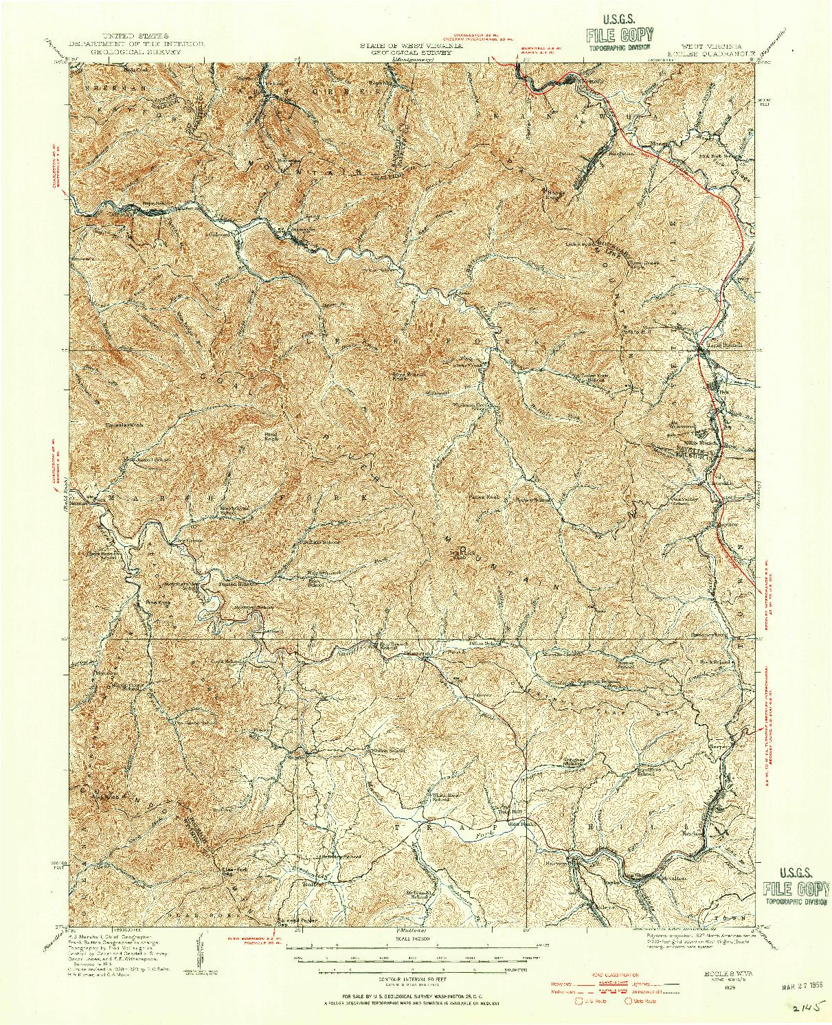 USGS 1:62500-SCALE QUADRANGLE FOR ECCLES, WV 1929