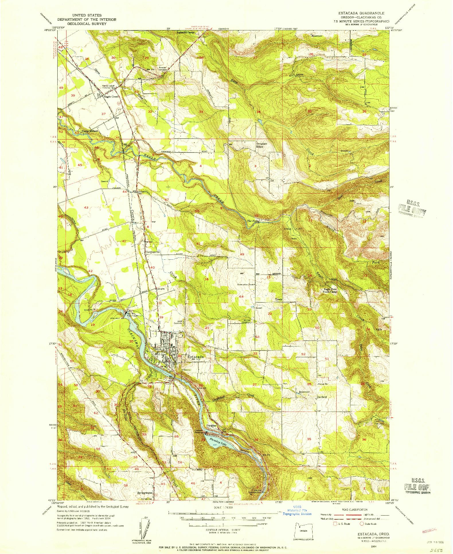 USGS 1:24000-SCALE QUADRANGLE FOR ESTACADA, OR 1954