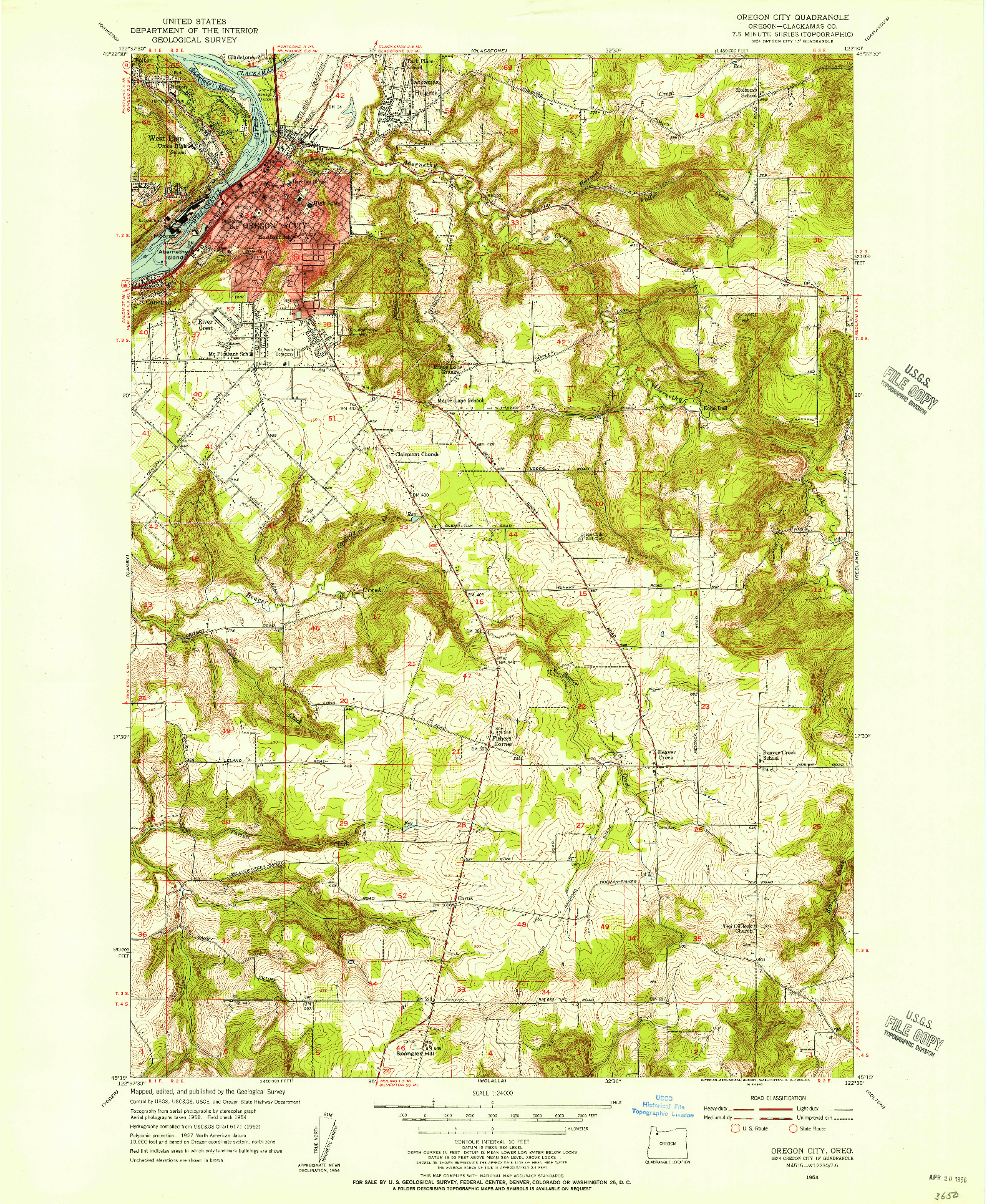 USGS 1:24000-SCALE QUADRANGLE FOR OREGON CITY, OR 1954
