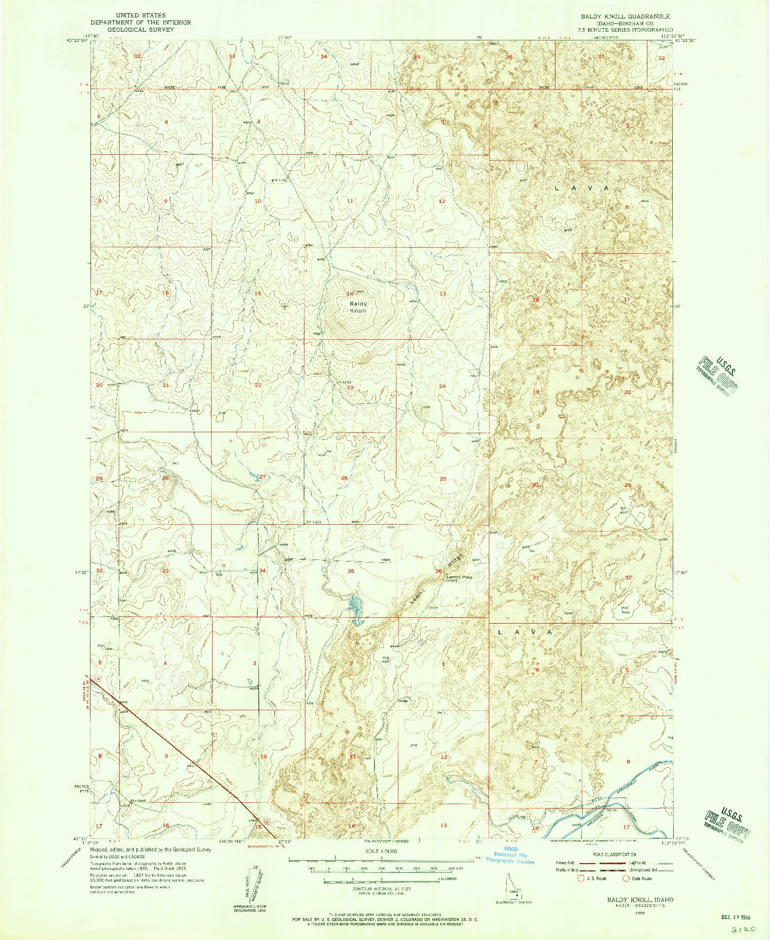 USGS 1:24000-SCALE QUADRANGLE FOR BALDY KNOLL, ID 1955