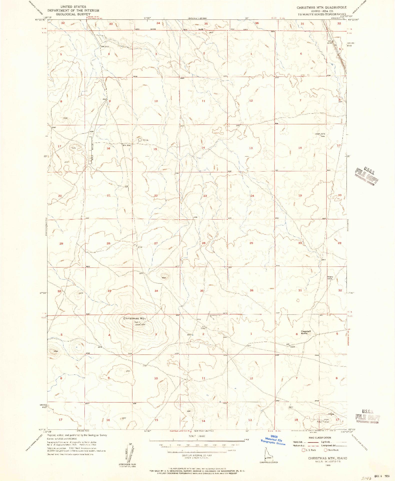 USGS 1:24000-SCALE QUADRANGLE FOR CHRISTMAS MTN, ID 1955