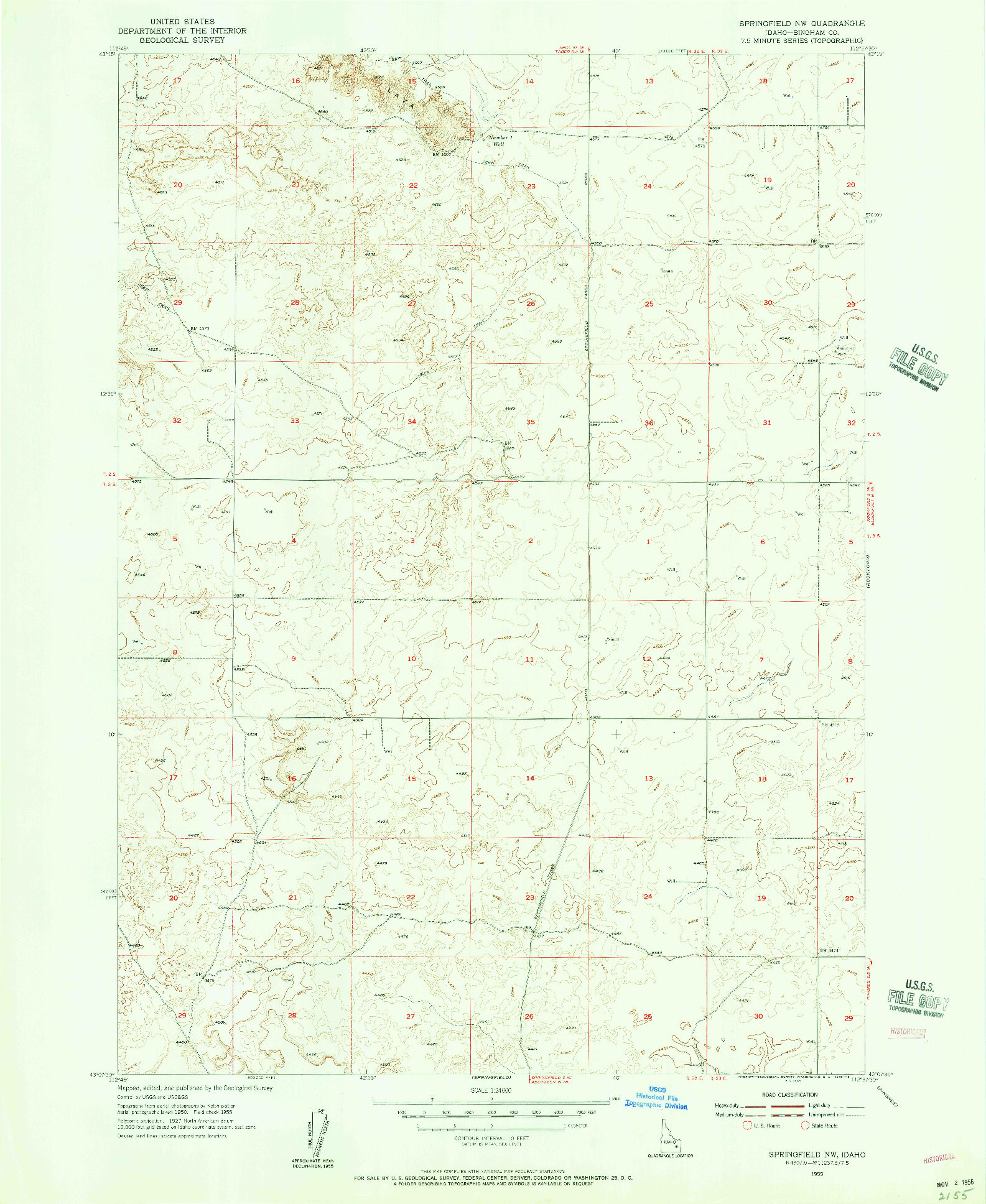 USGS 1:24000-SCALE QUADRANGLE FOR SPRINGFIELD NW, ID 1955