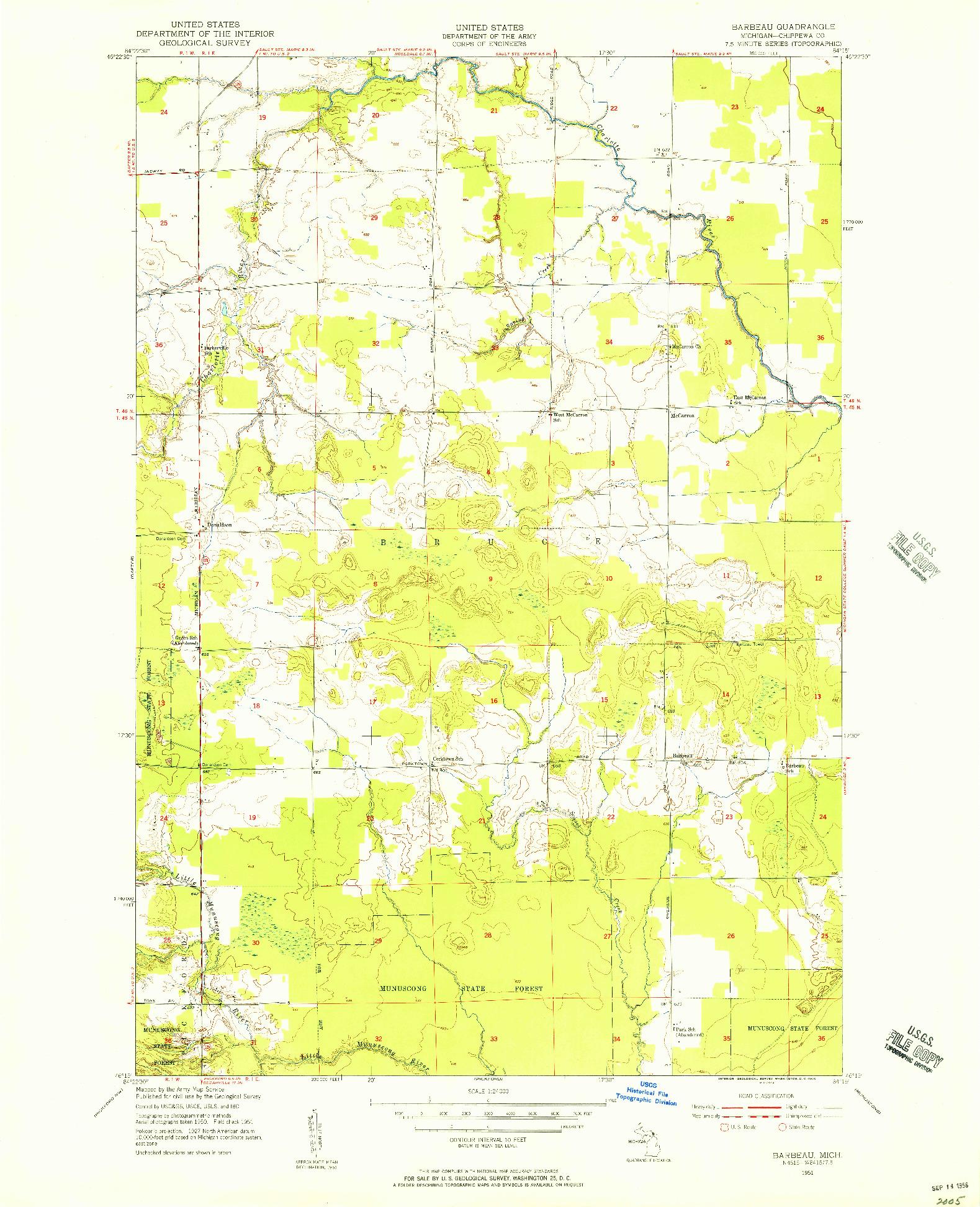 USGS 1:24000-SCALE QUADRANGLE FOR BARBEAU, MI 1951