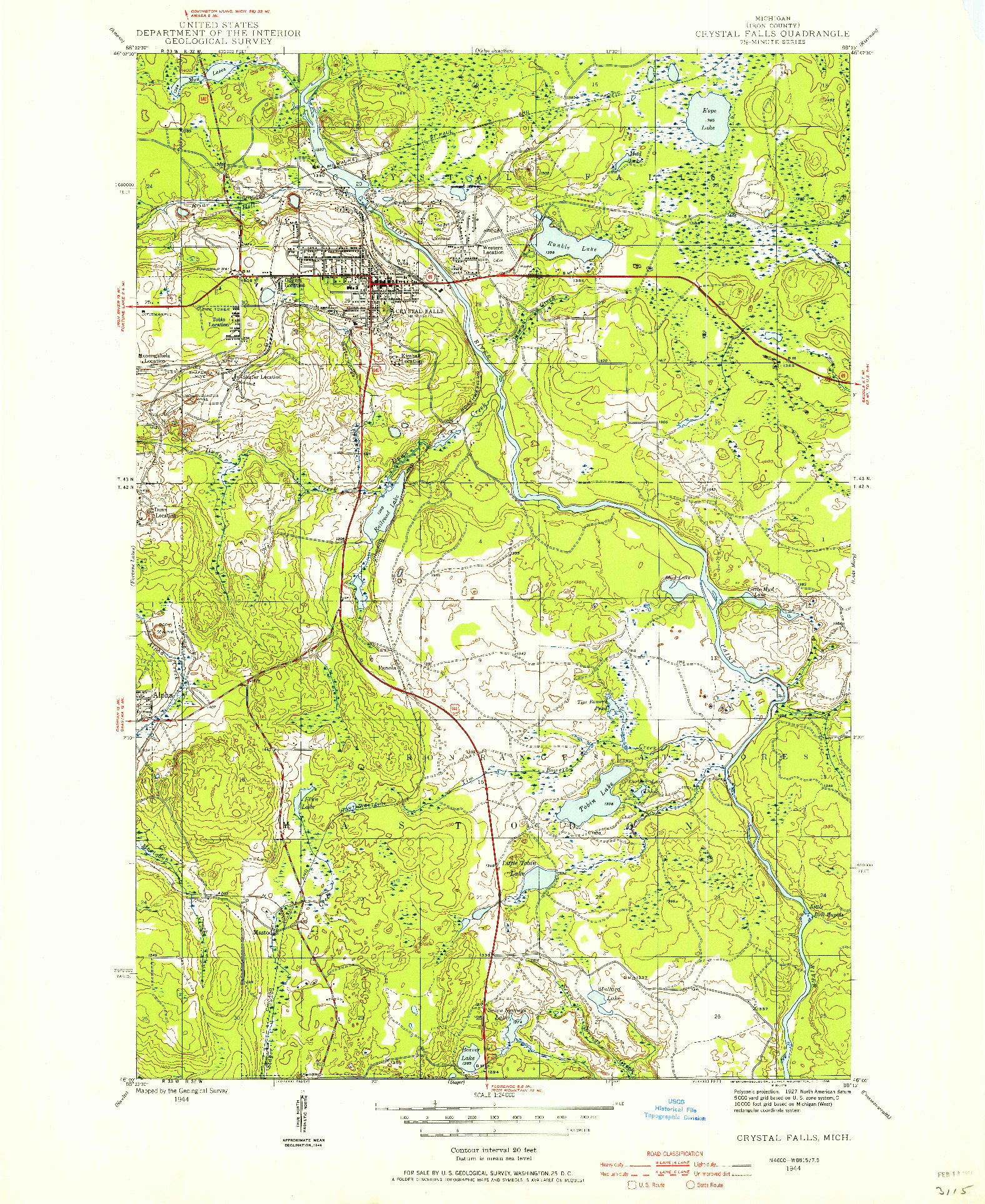 USGS 1:24000-SCALE QUADRANGLE FOR CRYSTAL FALLS, MI 1944