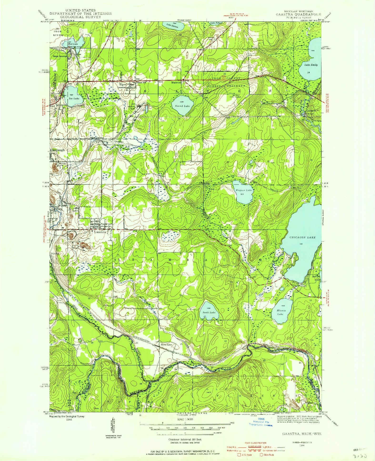 USGS 1:24000-SCALE QUADRANGLE FOR GAASTRA, MI 1944