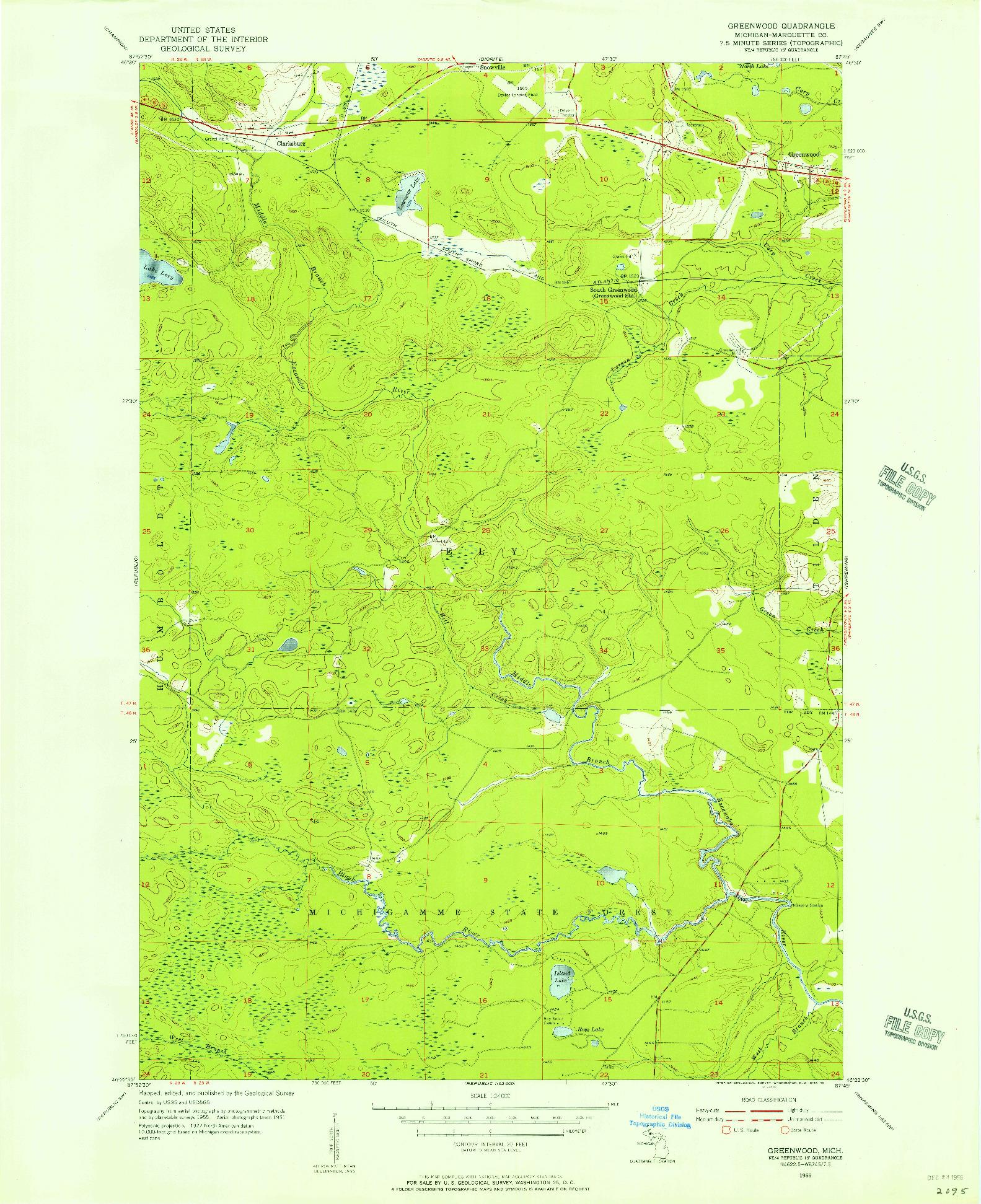 USGS 1:24000-SCALE QUADRANGLE FOR GREENWOOD, MI 1955