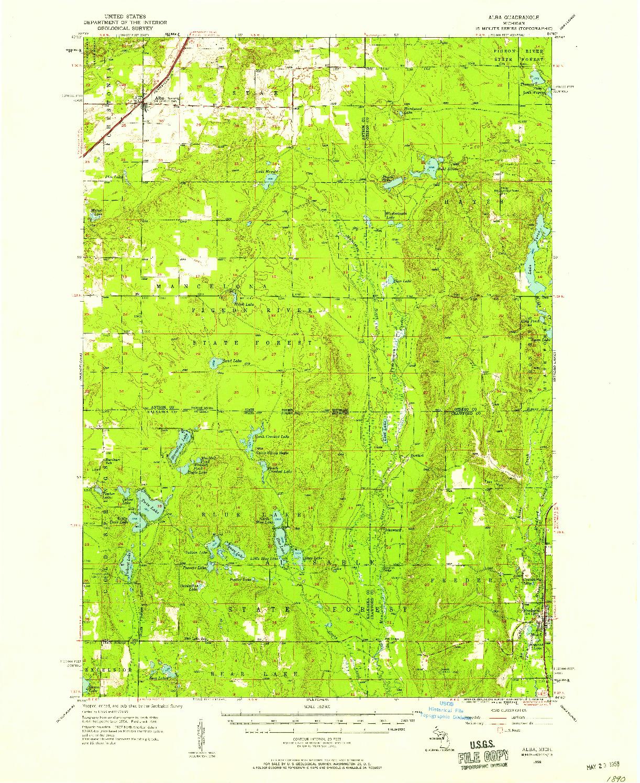 USGS 1:62500-SCALE QUADRANGLE FOR ALBA, MI 1956