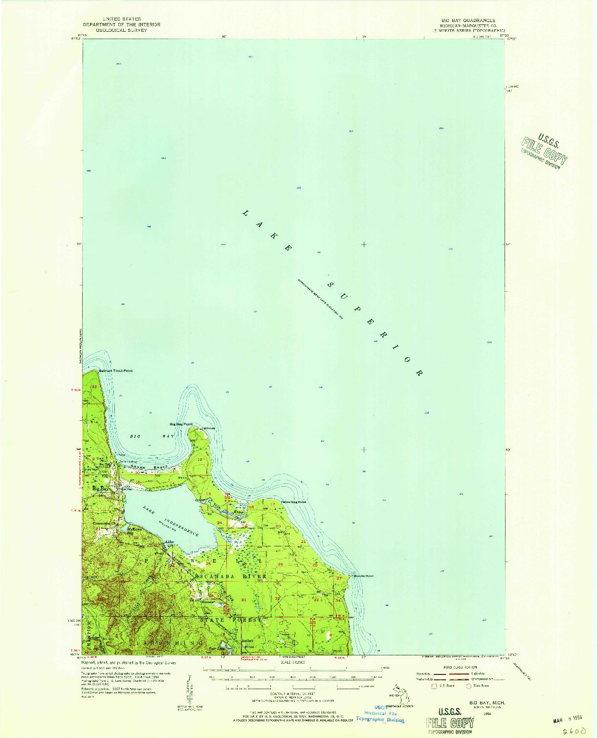 USGS 1:62500-SCALE QUADRANGLE FOR BIG BAY, MI 1954