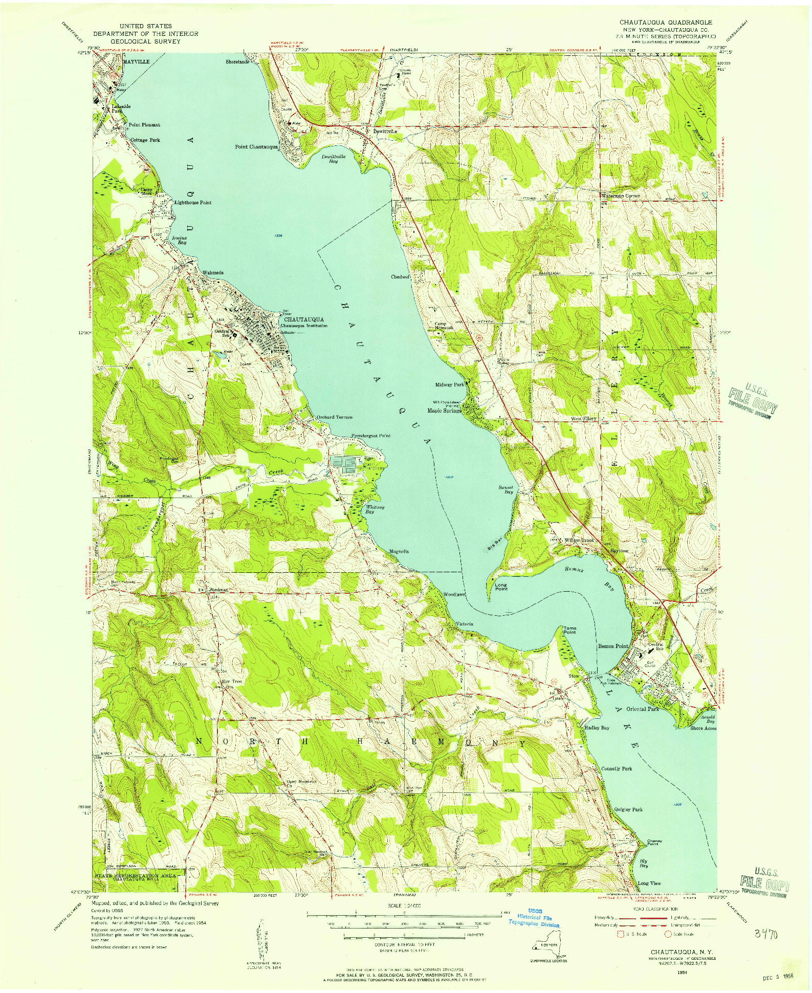 USGS 1:24000-SCALE QUADRANGLE FOR CHAUTAUQUA, NY 1954