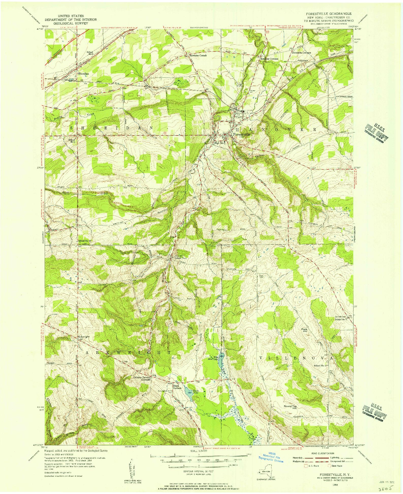 USGS 1:24000-SCALE QUADRANGLE FOR FORESTVILLE, NY 1954