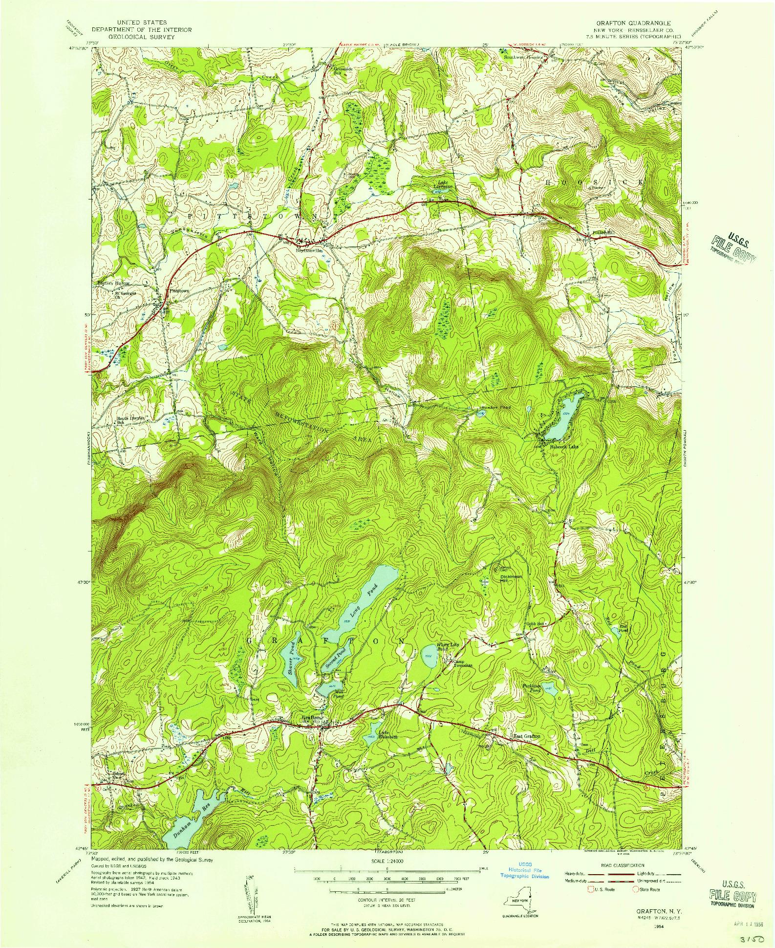 USGS 1:24000-SCALE QUADRANGLE FOR GRAFTON, NY 1954