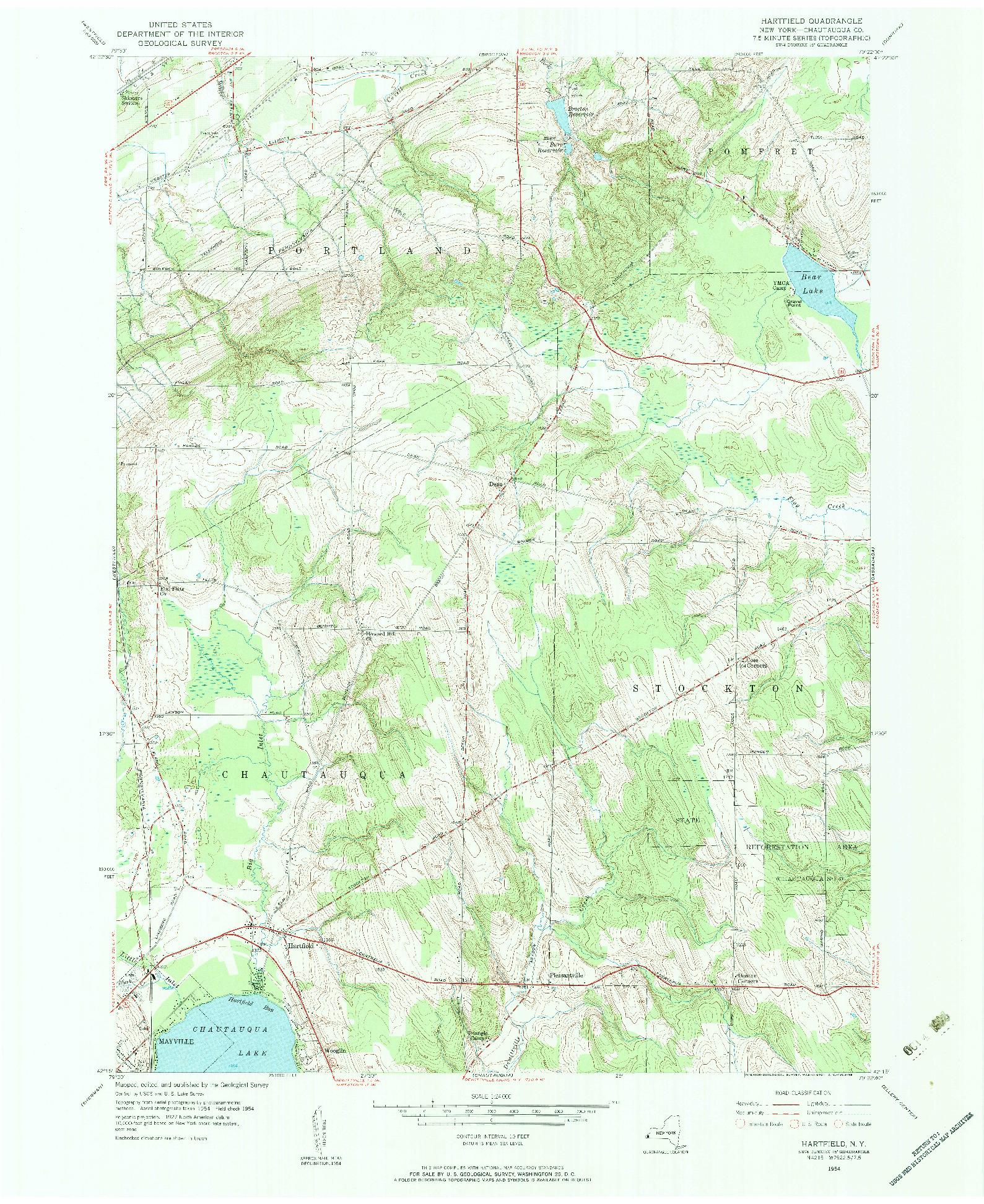 USGS 1:24000-SCALE QUADRANGLE FOR HARTFIELD, NY 1954