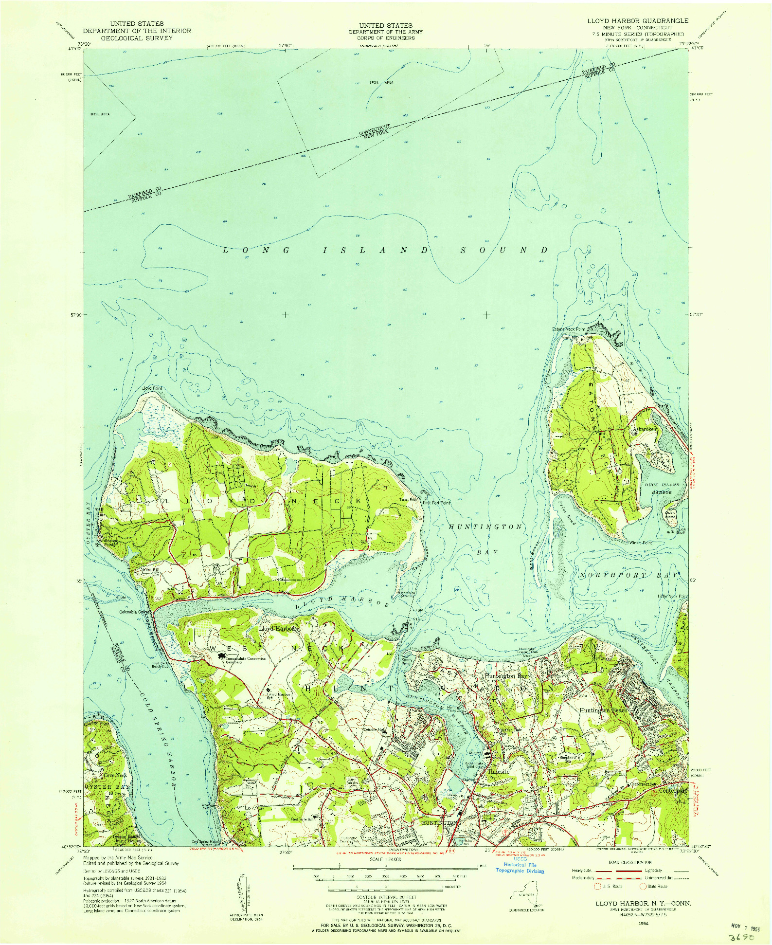 USGS 1:24000-SCALE QUADRANGLE FOR LLOYD HARBOR, NY 1954