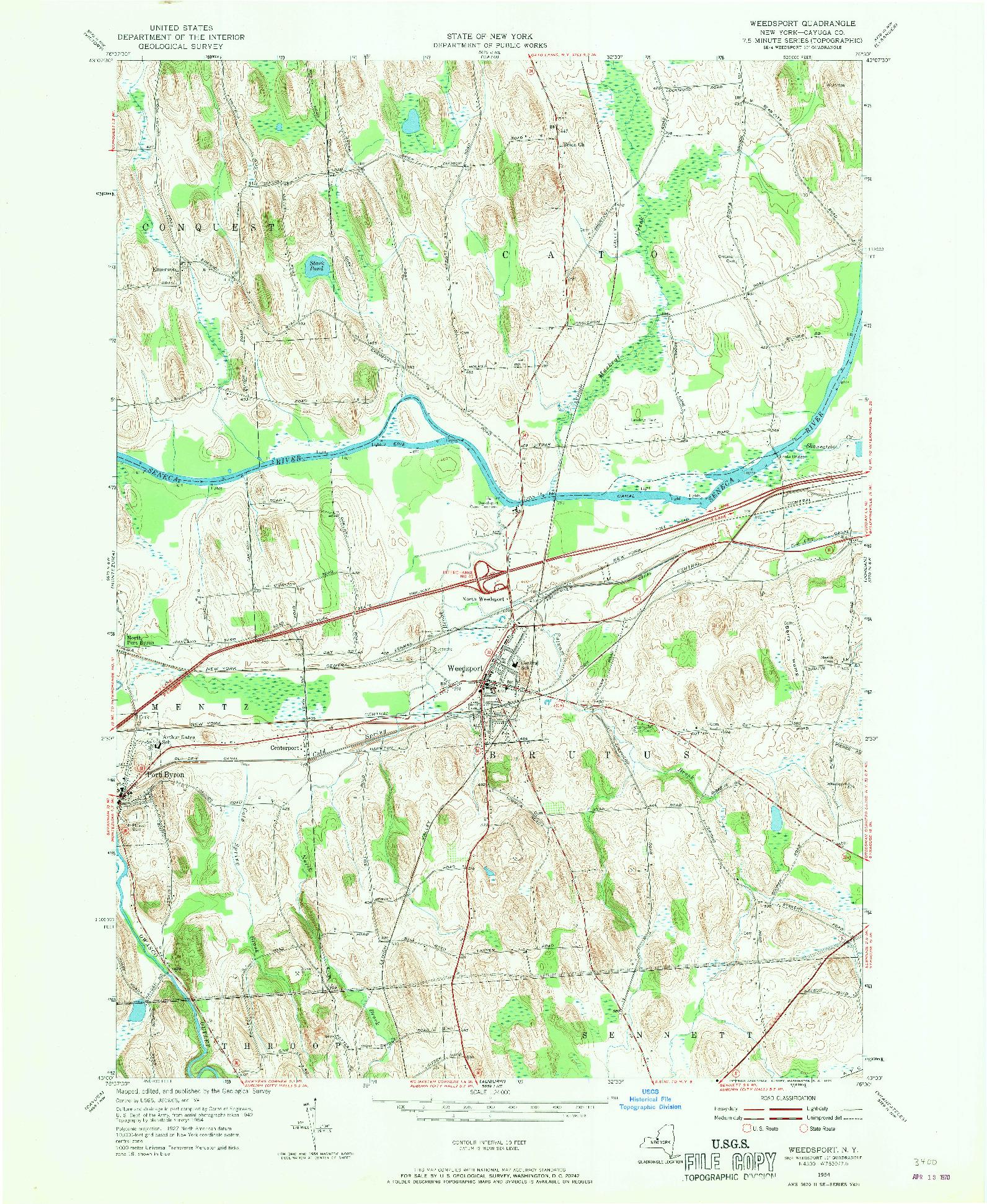 USGS 1:24000-SCALE QUADRANGLE FOR WEEDSPORT, NY 1954