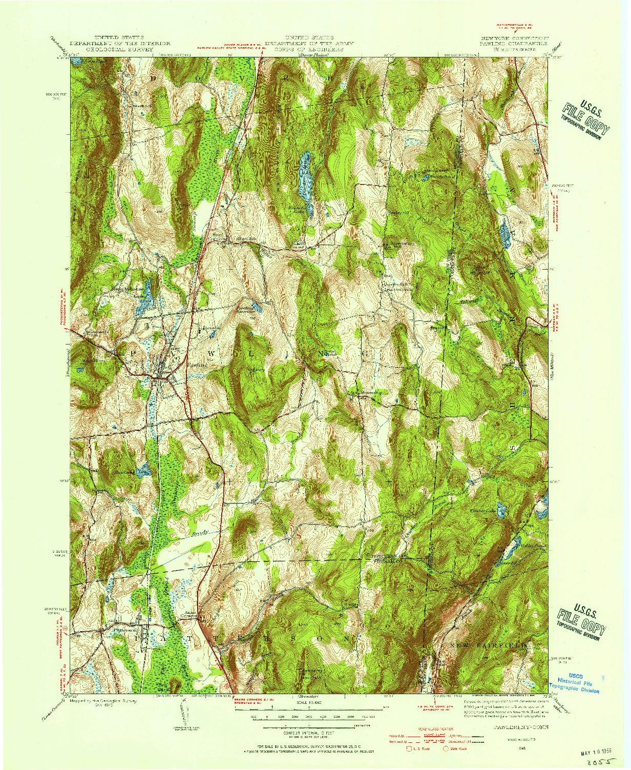 USGS 1:31680-SCALE QUADRANGLE FOR PAWLING, NY 1945