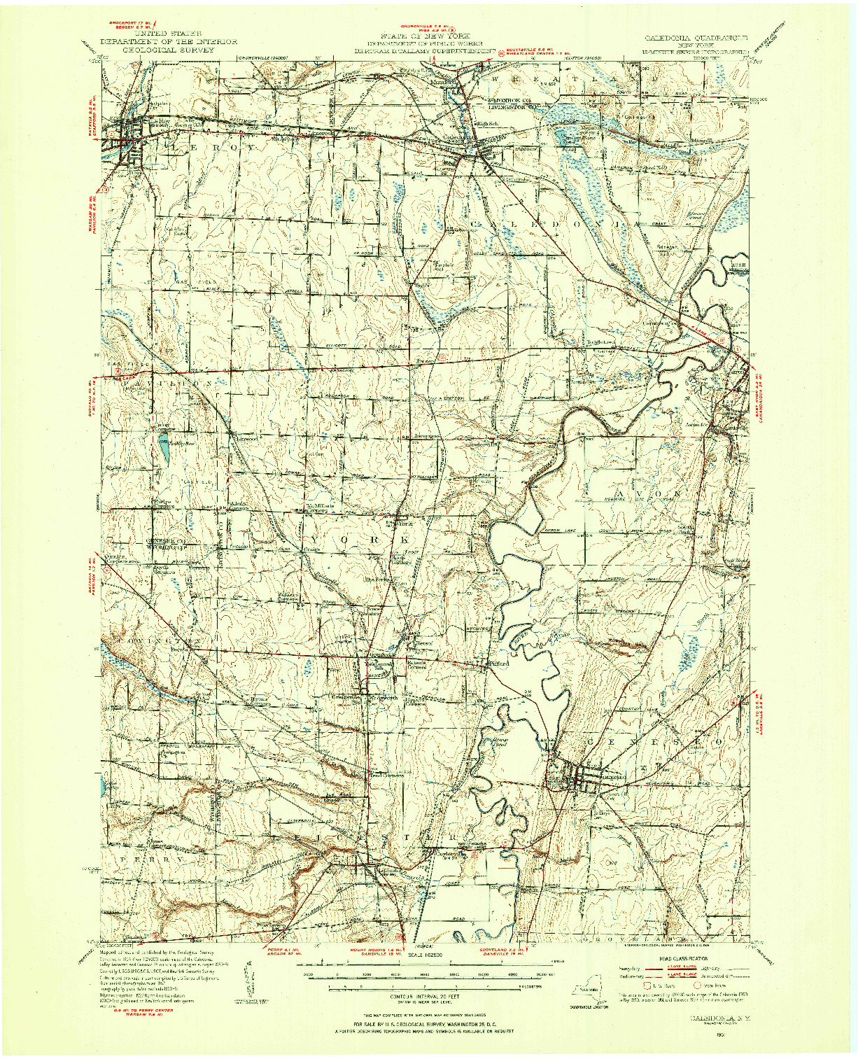 USGS 1:62500-SCALE QUADRANGLE FOR CALEDONIA, NY 1951