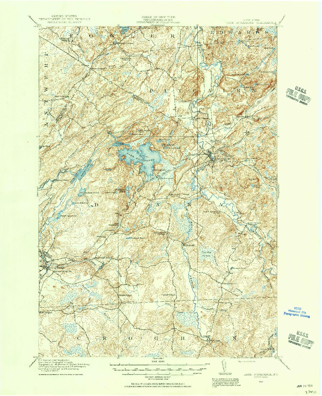 USGS 1:62500-SCALE QUADRANGLE FOR LAKE BONAPARTE, NY 1913