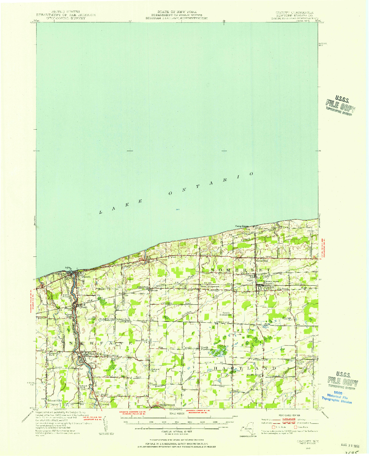 USGS 1:62500-SCALE QUADRANGLE FOR OLCOTT, NY 1948