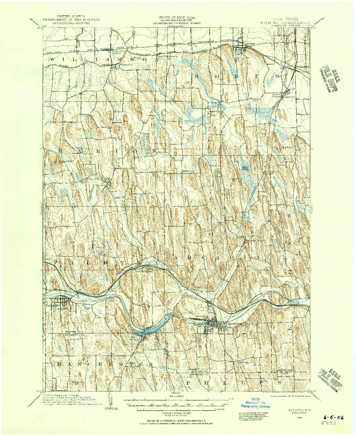 USGS 1:62500-SCALE QUADRANGLE FOR PALMYRA, NY 1899