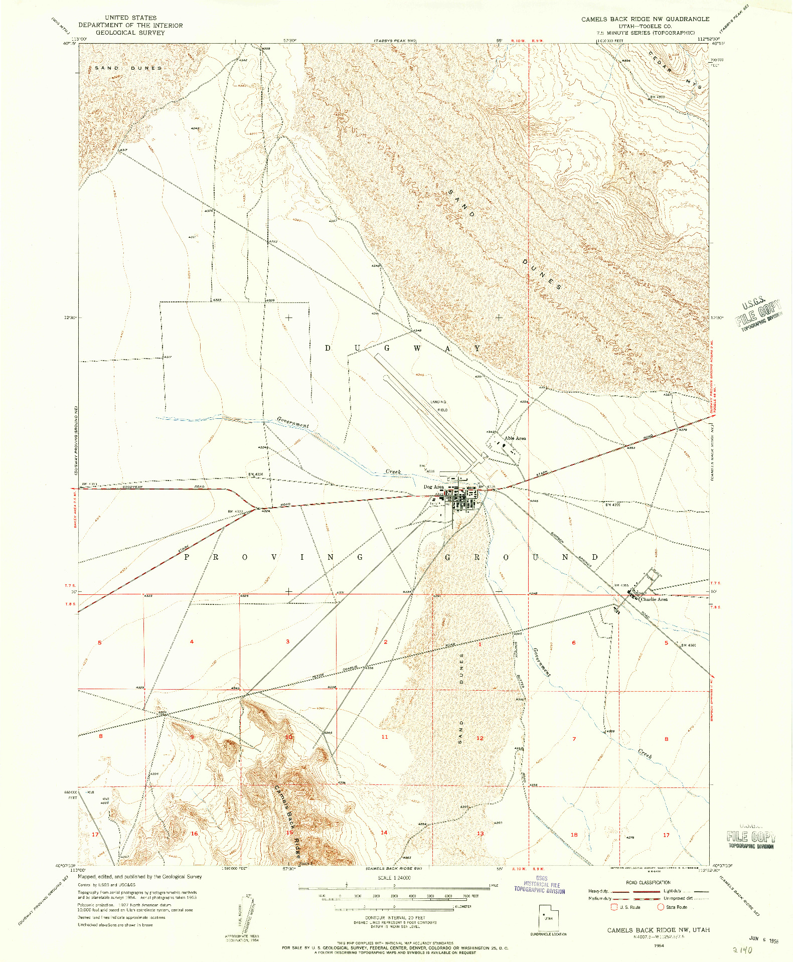 USGS 1:24000-SCALE QUADRANGLE FOR CAMELS BACK RIDGE NW, UT 1954