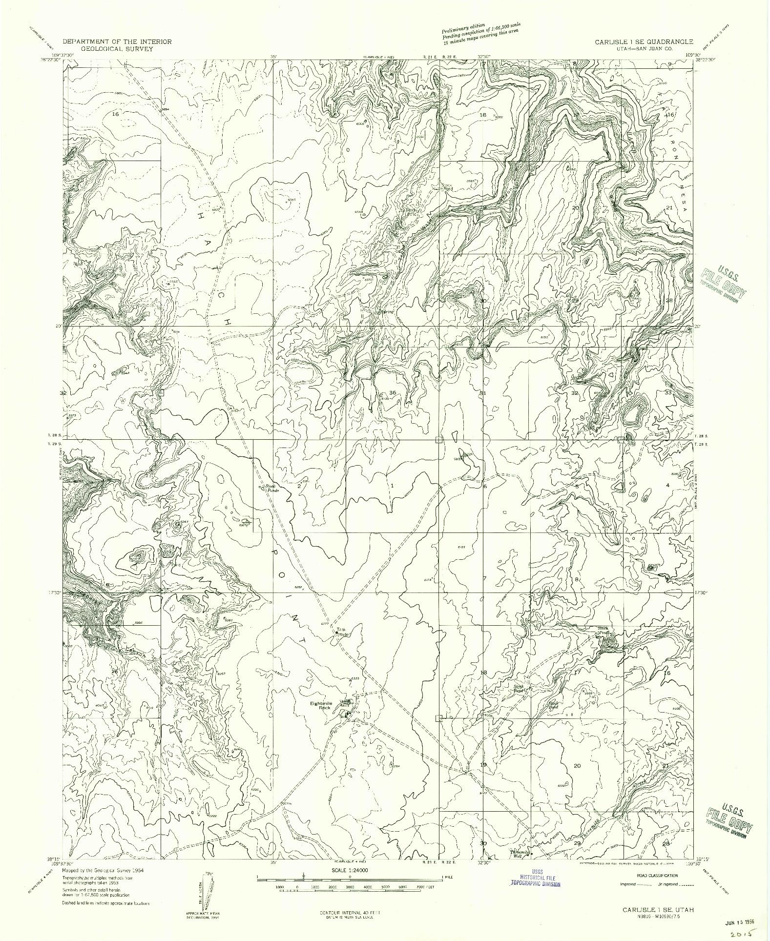 USGS 1:24000-SCALE QUADRANGLE FOR CARLISLE 1 SE, UT 1954