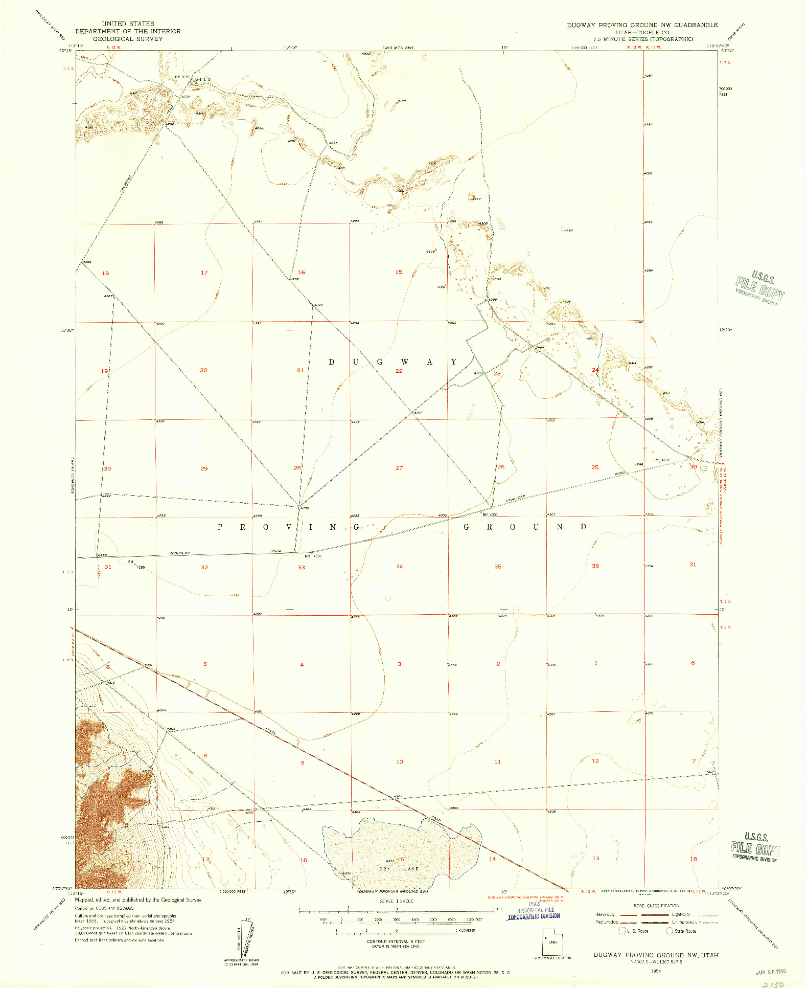 USGS 1:24000-SCALE QUADRANGLE FOR DUGWAY PROVING GROUND NW, UT 1954
