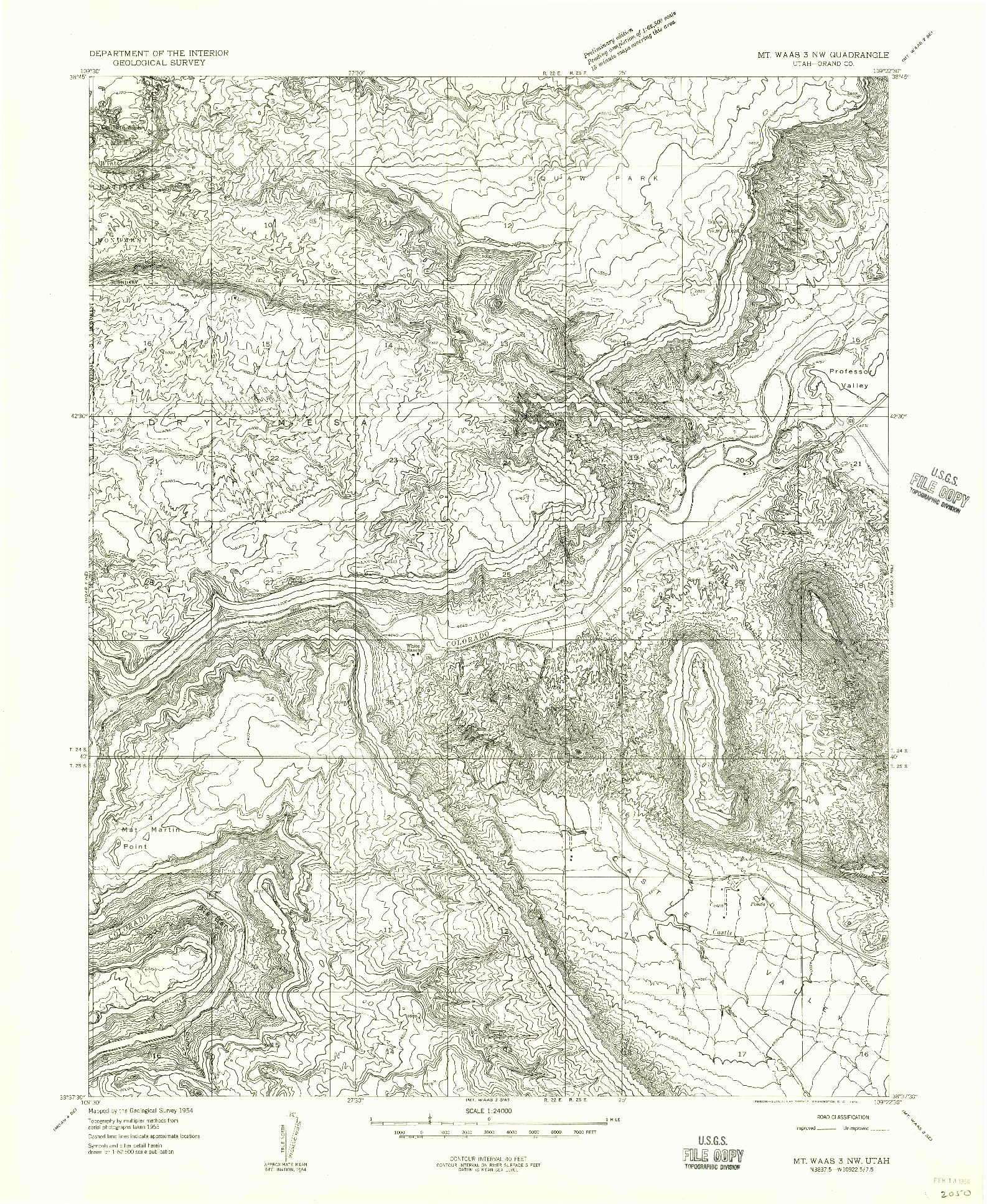 USGS 1:24000-SCALE QUADRANGLE FOR MT. WAAS 3 NW, UT 1954