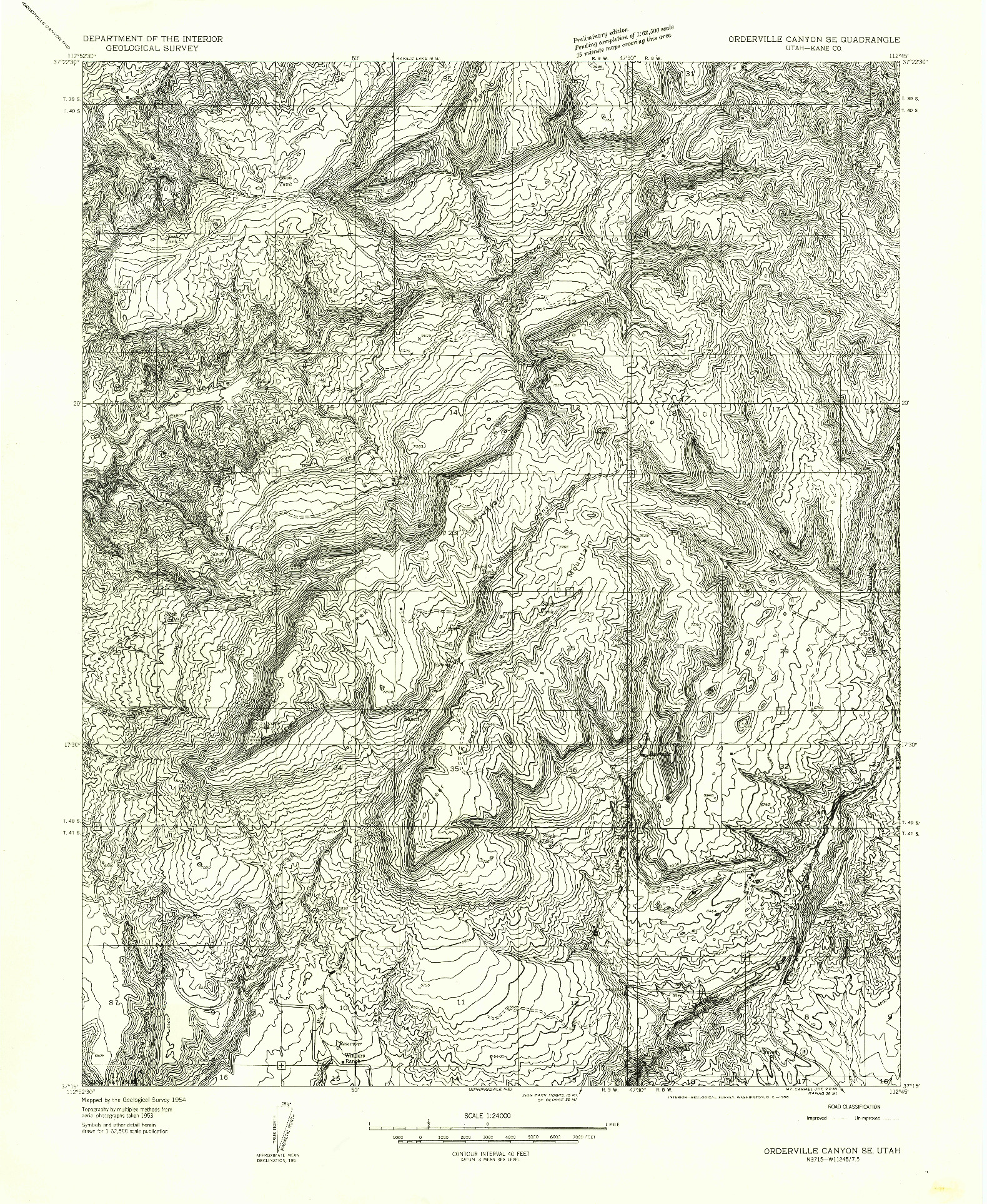 USGS 1:24000-SCALE QUADRANGLE FOR ORDERVILLE CANYON SE, UT 1954