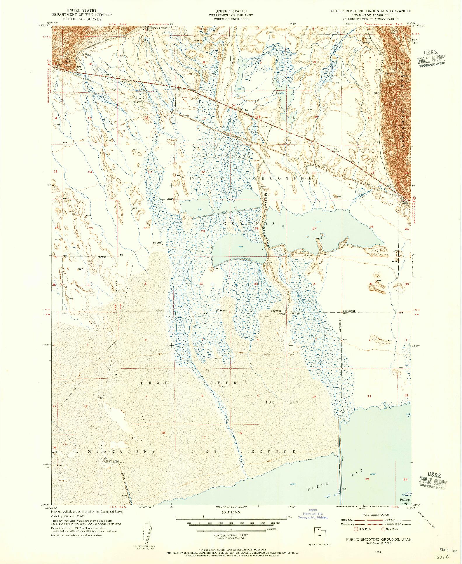 USGS 1:24000-SCALE QUADRANGLE FOR PUBLIC SHOOTING GROUNDS, UT 1954