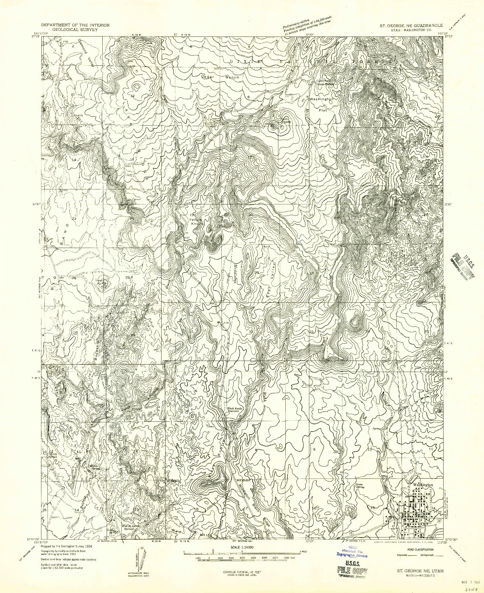 USGS 1:24000-SCALE QUADRANGLE FOR ST. GEORGE NE, UT 1956