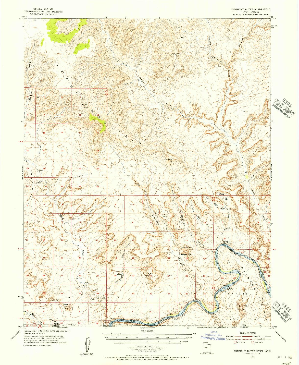USGS 1:62500-SCALE QUADRANGLE FOR GUNSIGHT BUTTE, UT 1953